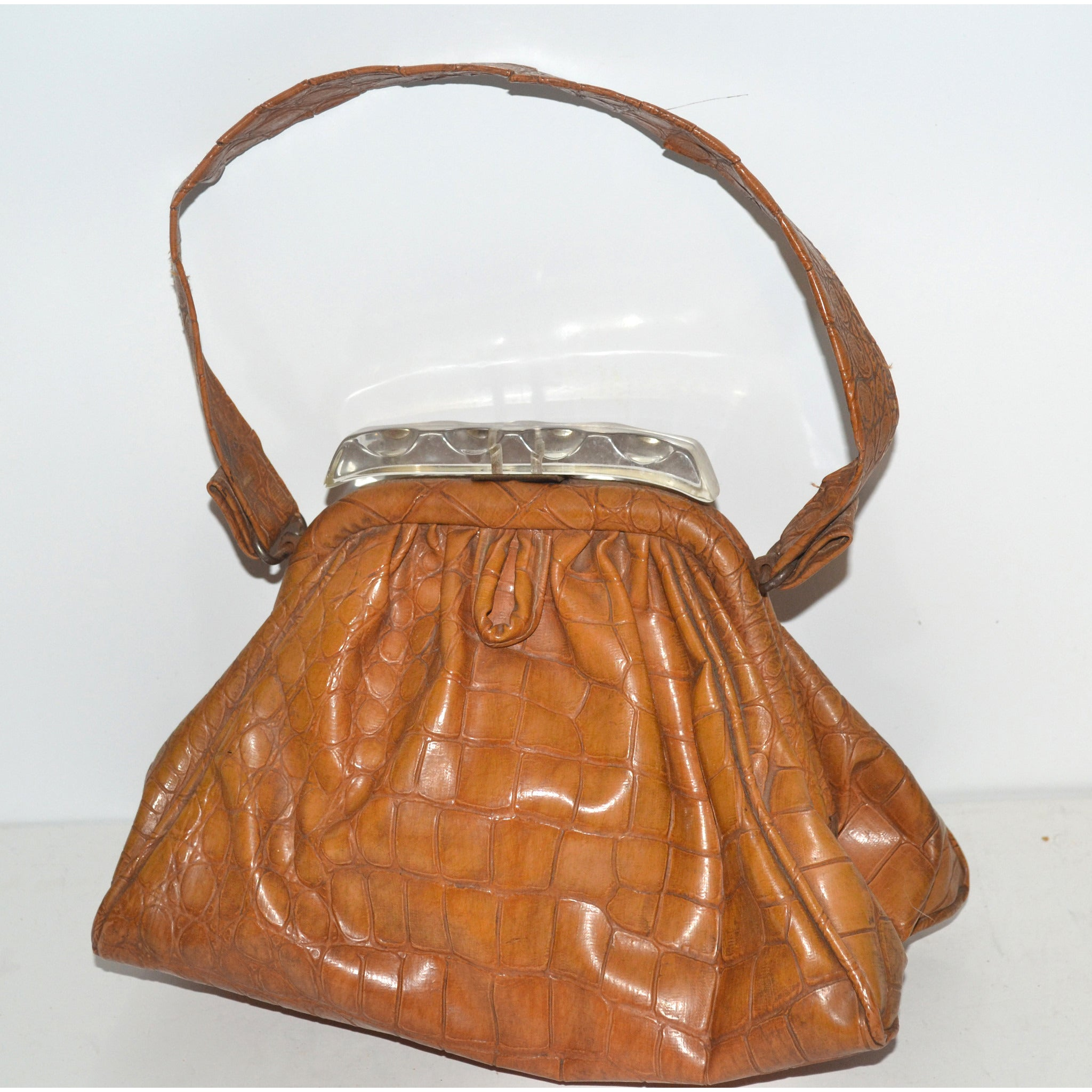 Vintage Brown Faux Crocodile & Lucite Pouch Purse