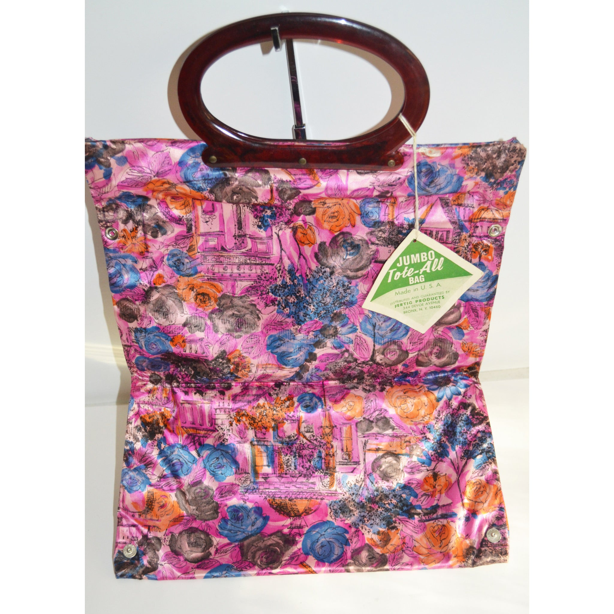 Vintage Colorful Tote-All Expandable Bag Purse