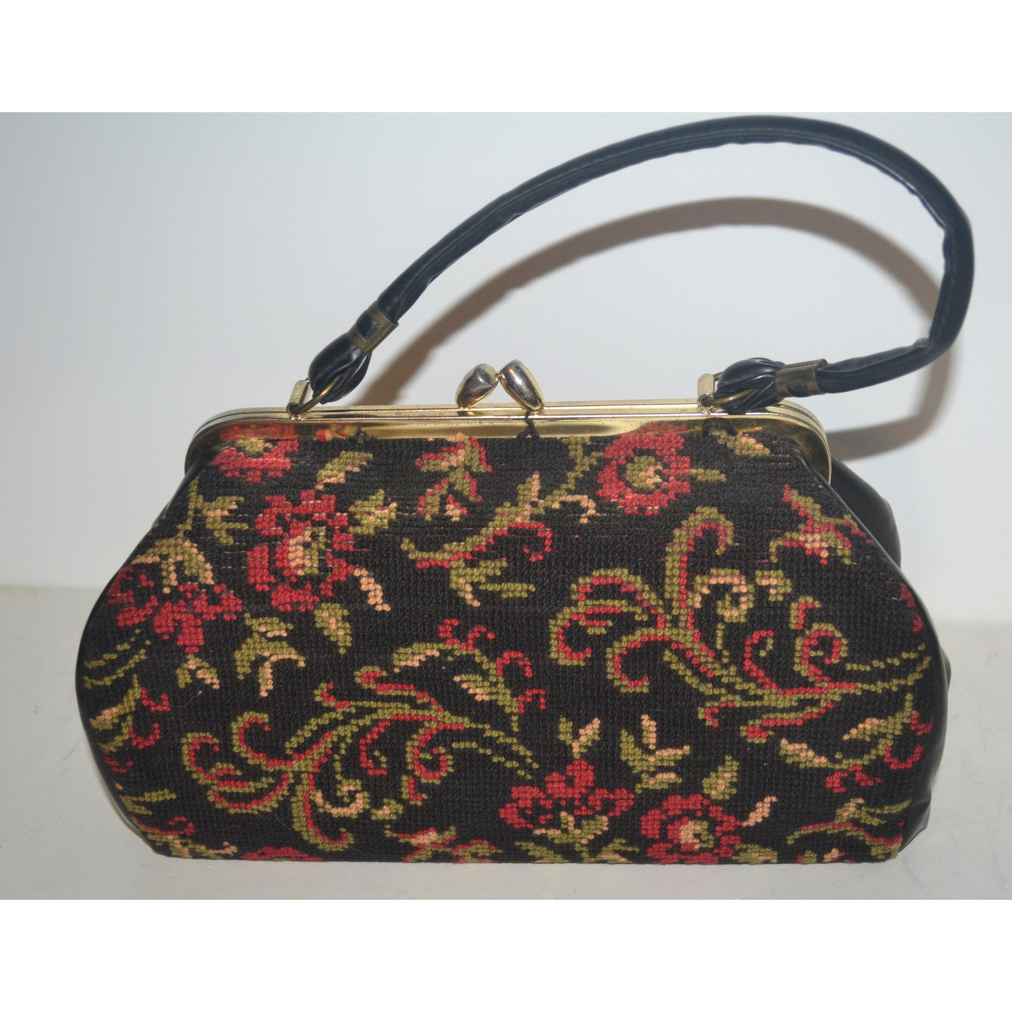 Vintage Black Floral Carpetbag Purse