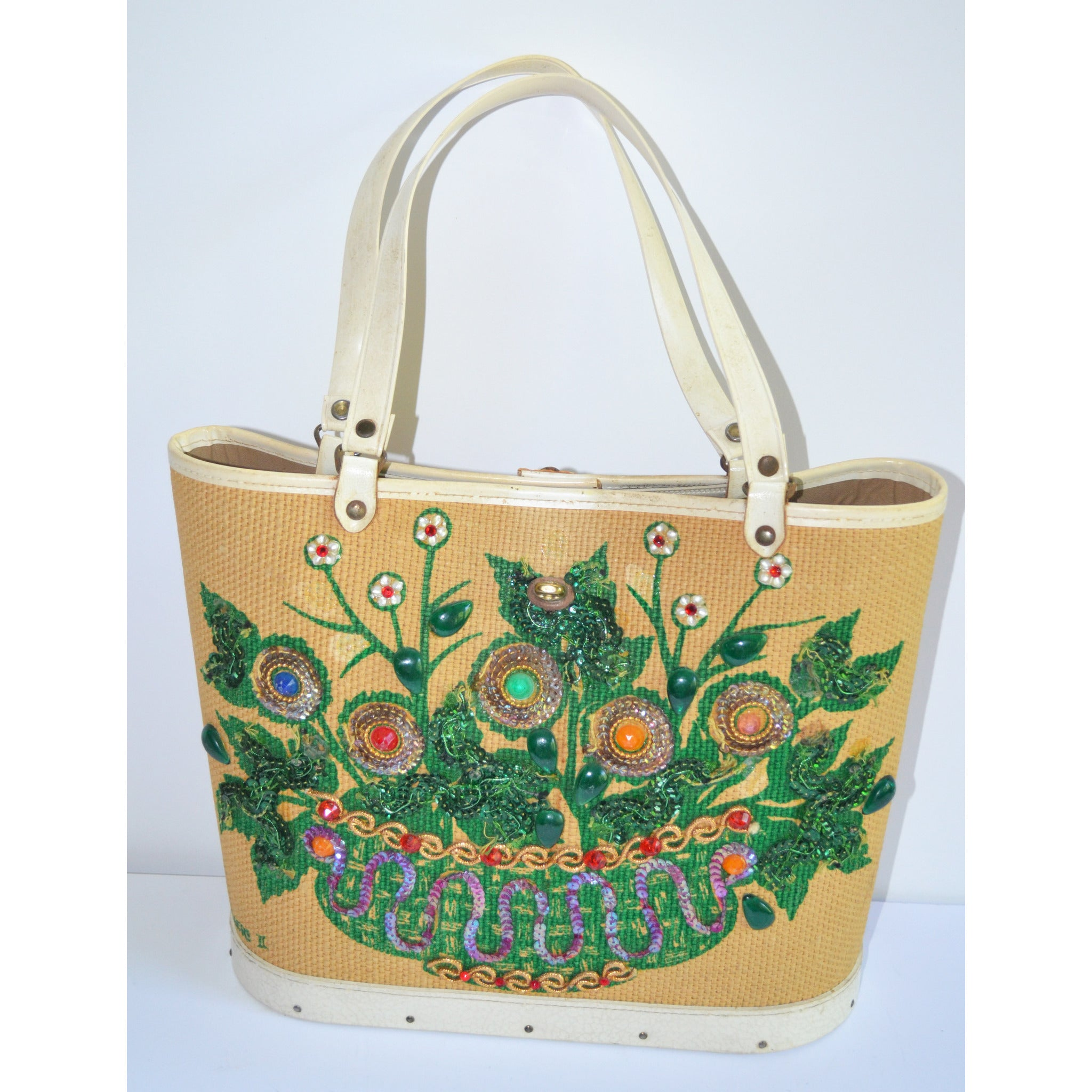 Vintage Flowers II Jeweled Bucket Purse