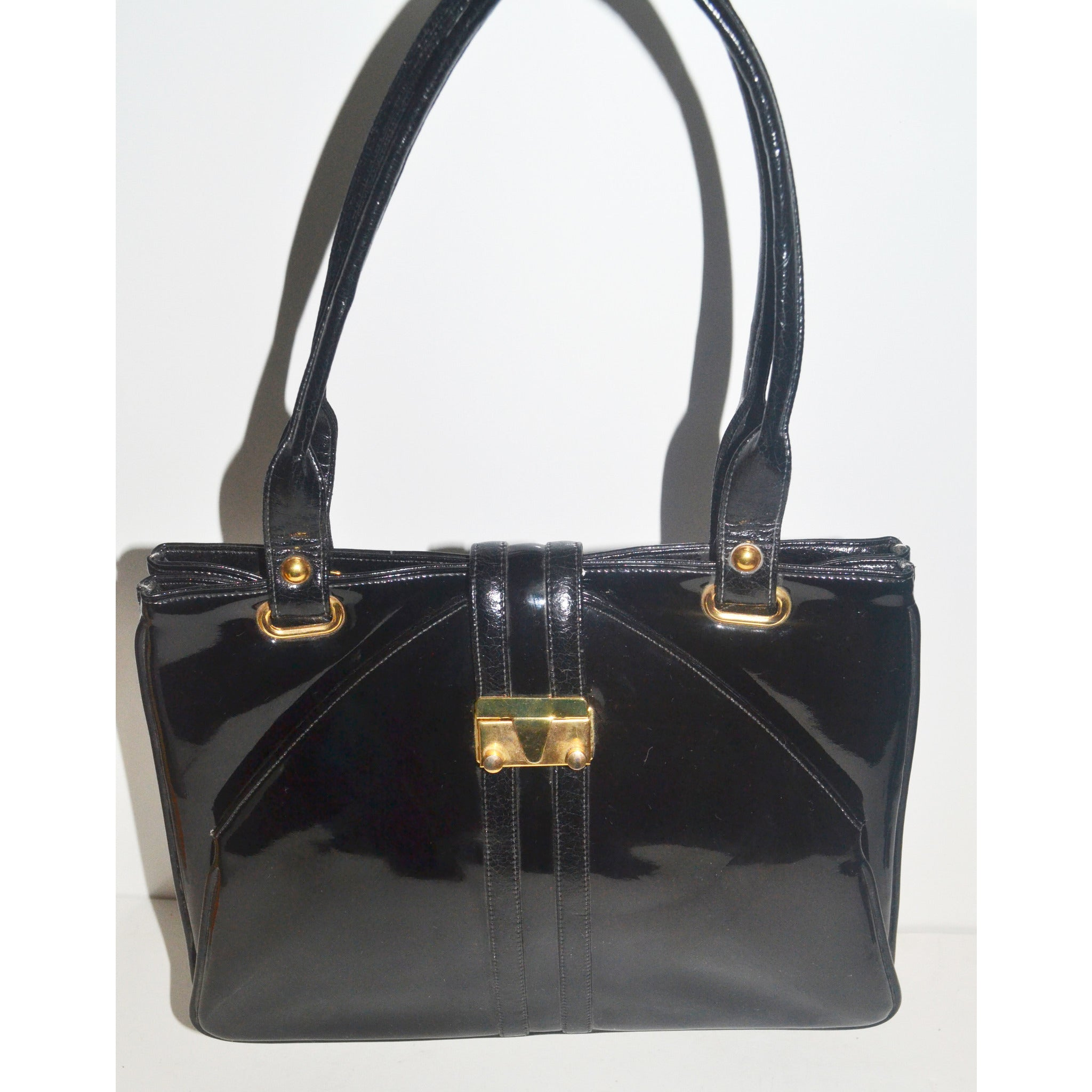 Vintage Black Patent Leather Handbag By Francois