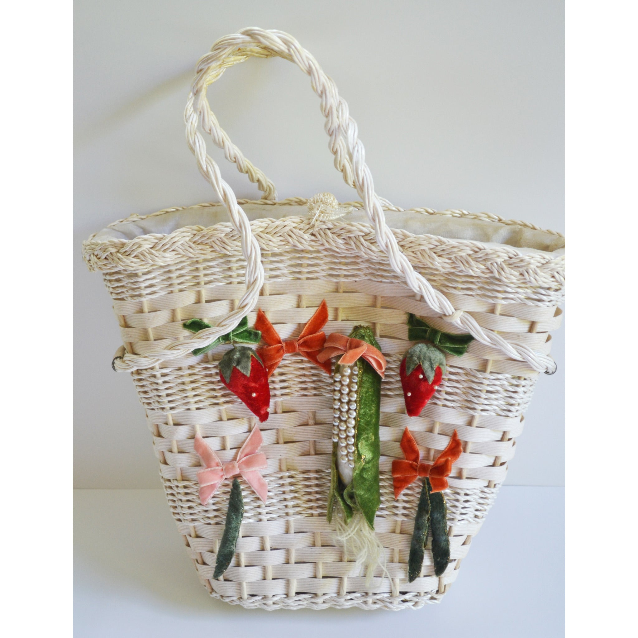 Vintage Vegetable & Fruit Wicker Purse
