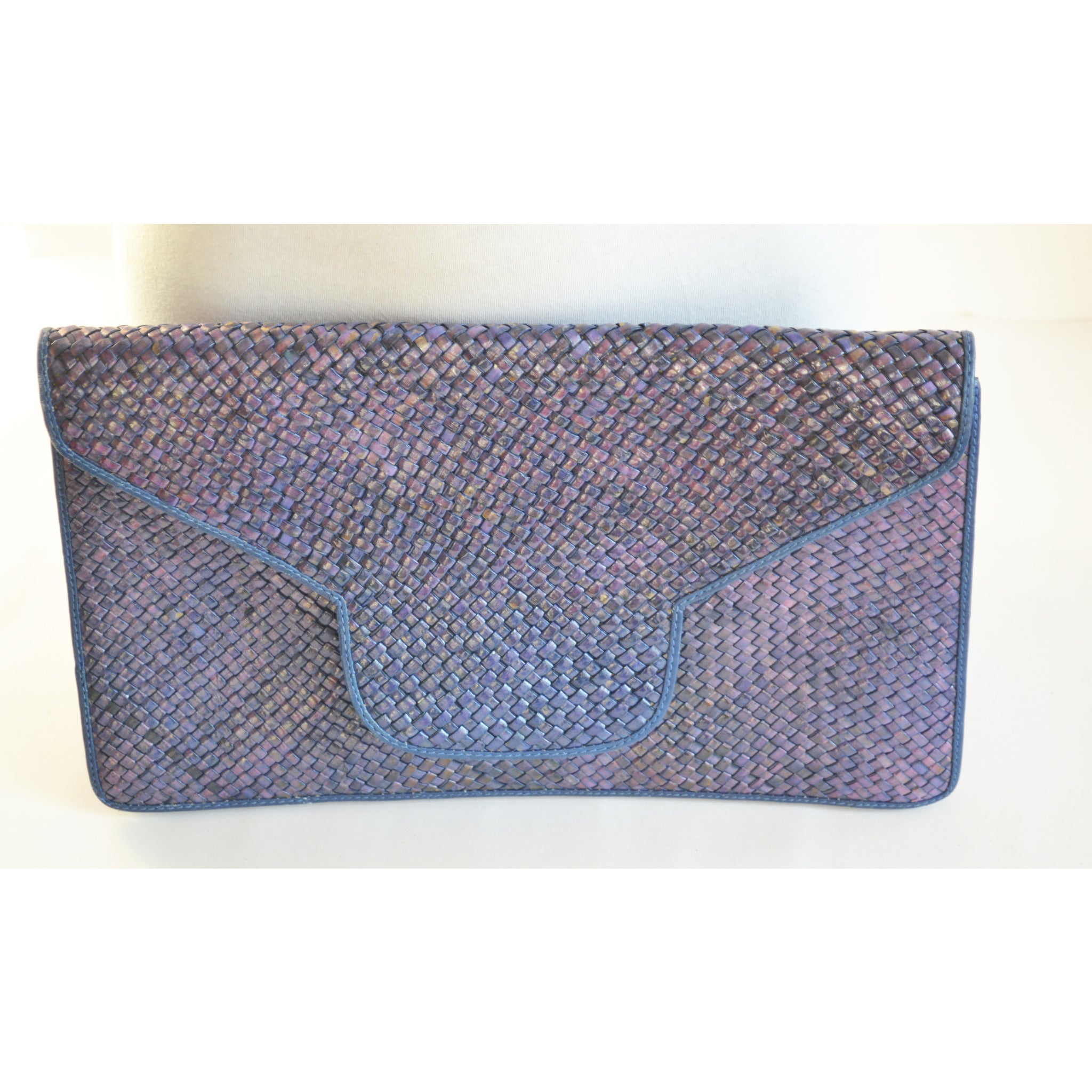 Vintage Blue Wicker & Leather Purse By Susan Gail