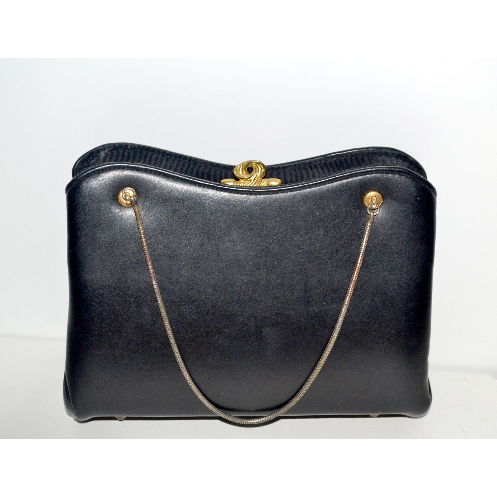 Vintage Black Leather Purse By Garay