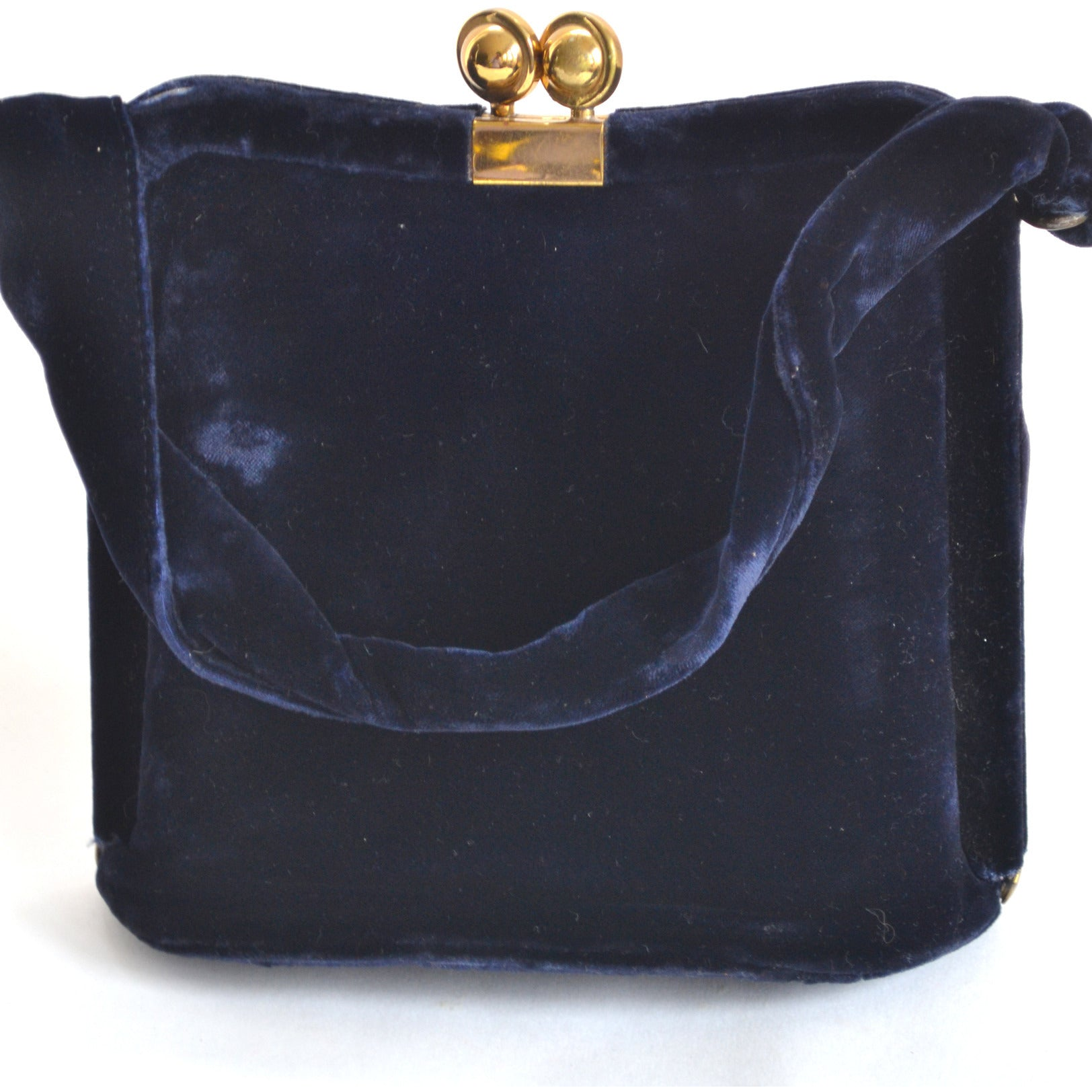 Vintage Navy Plush Velvet Evening Purse By Garay