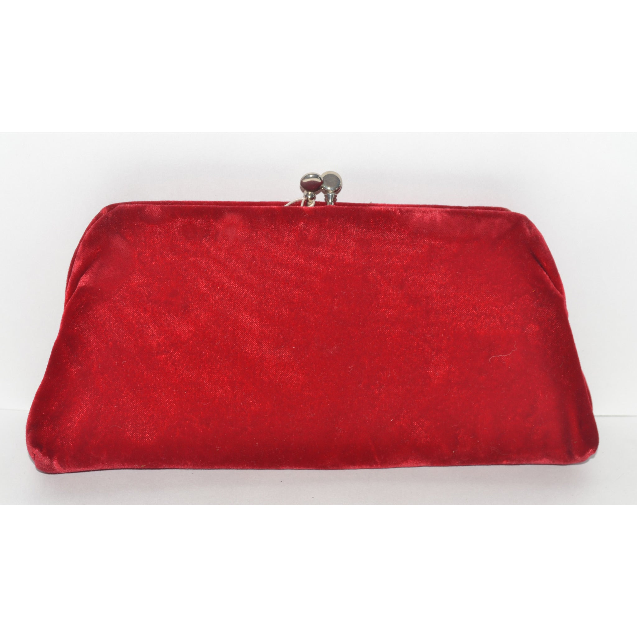 Vintage Red Plush Velvet Clutch Purse By Garay
