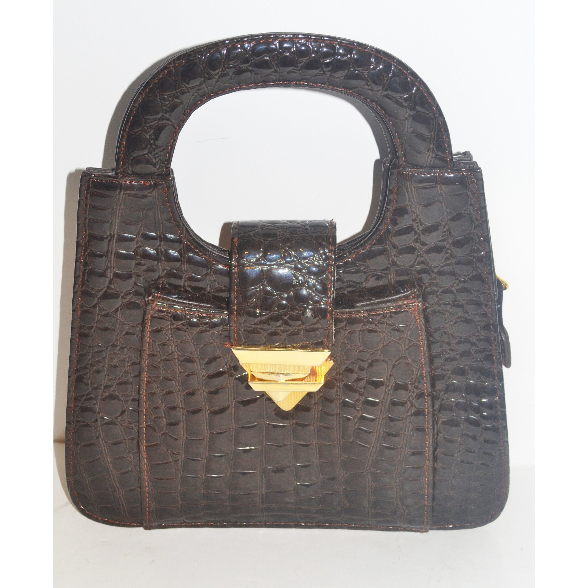Vintage Brown High Gloss Embossed Handbag By Giovanni