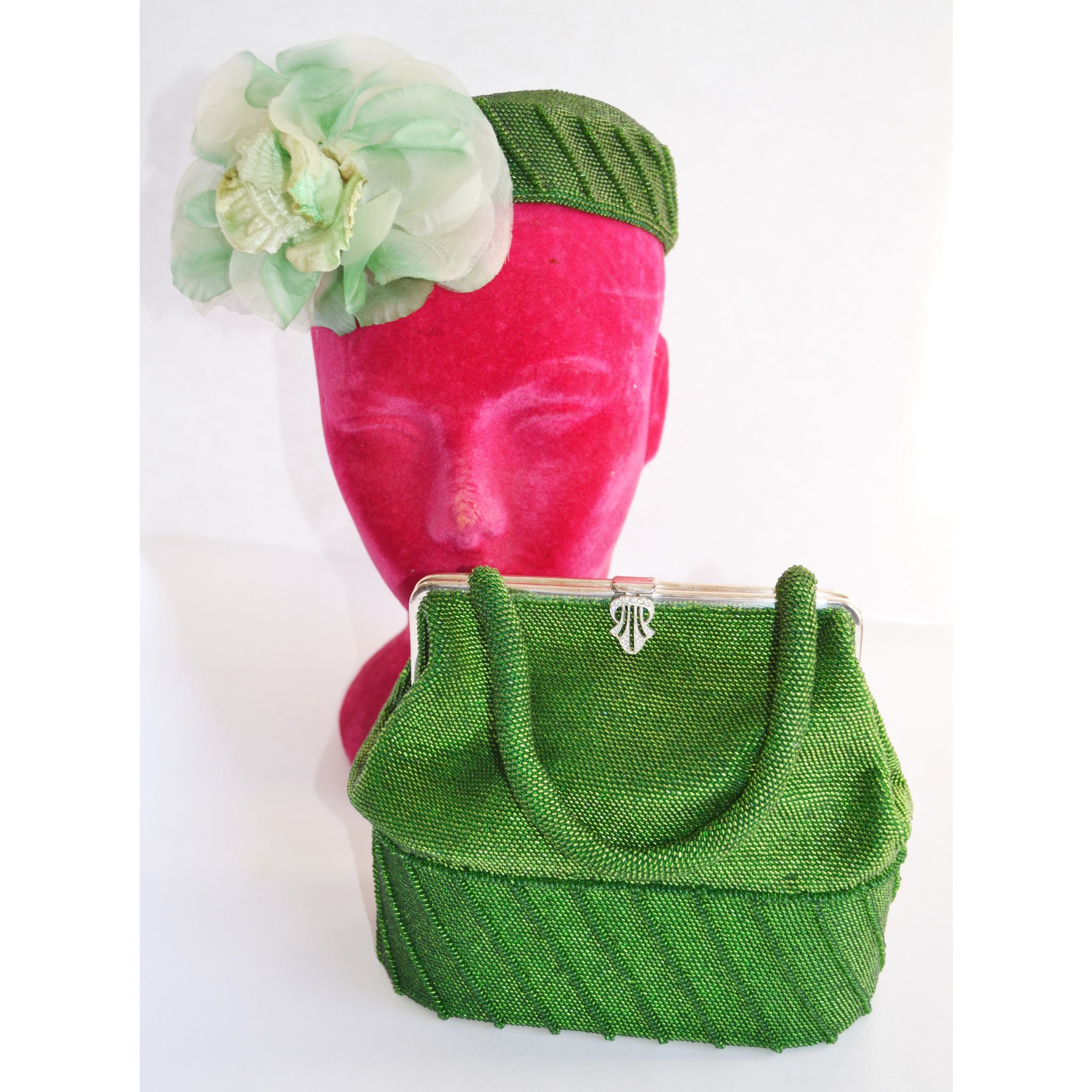 Vintage Green Beaded Purse & Hat Set