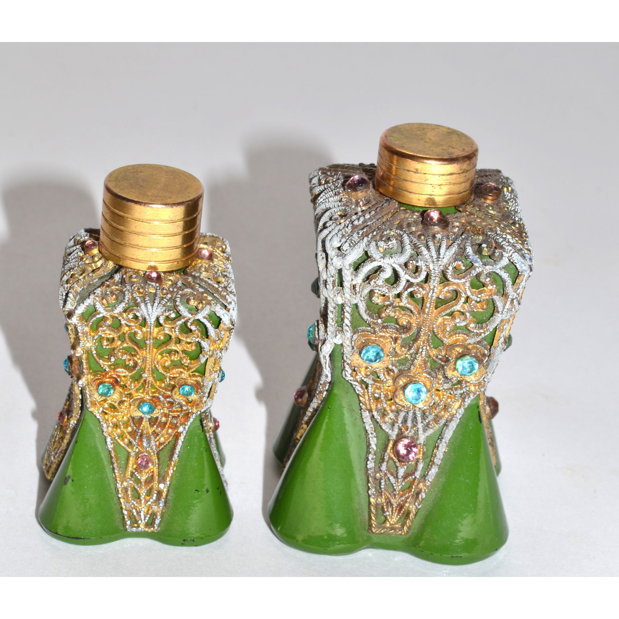 1930's Ornate Jeweled Green Painted Scent Bottles