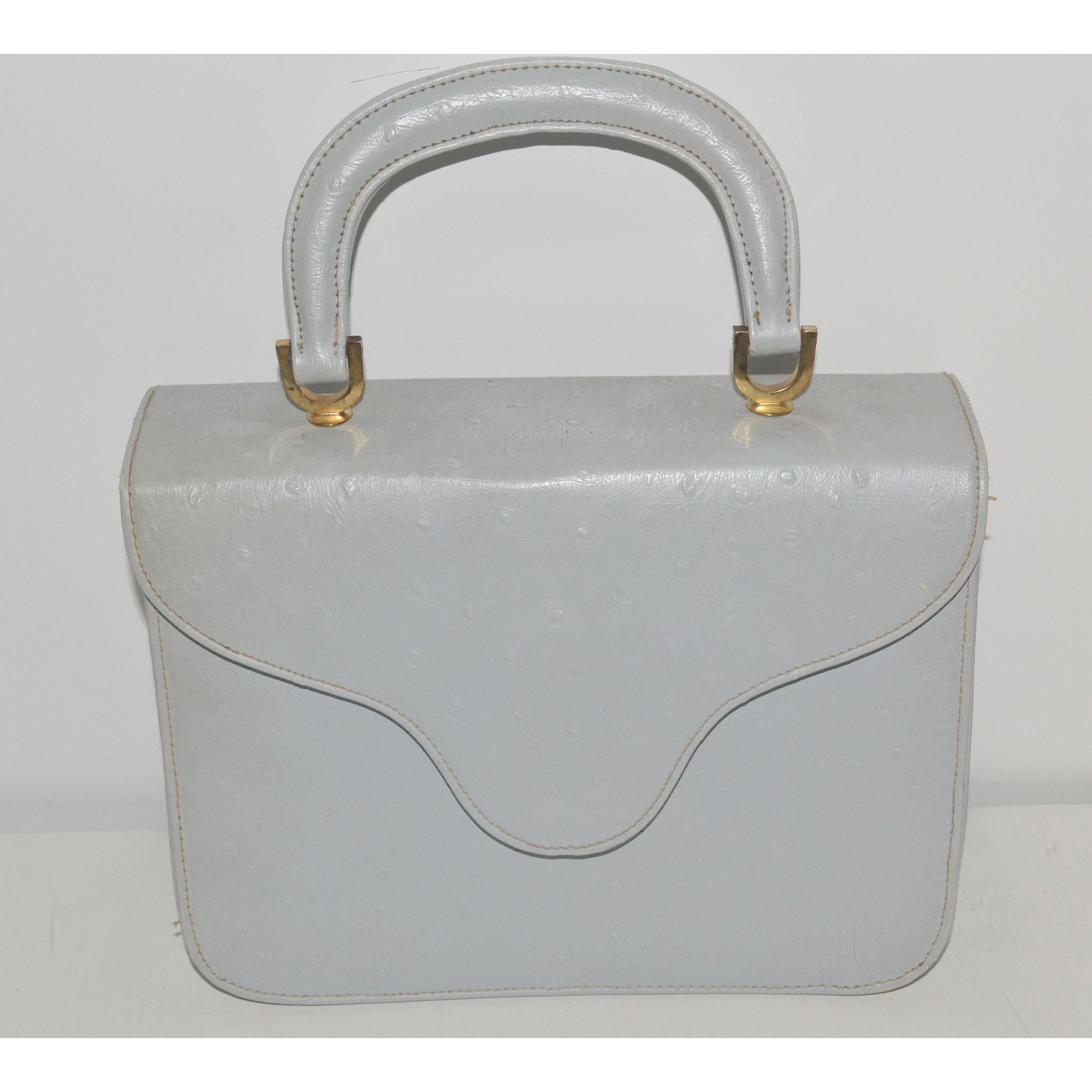 Vintage Grey Faux Ostrich Handbag By Meyers