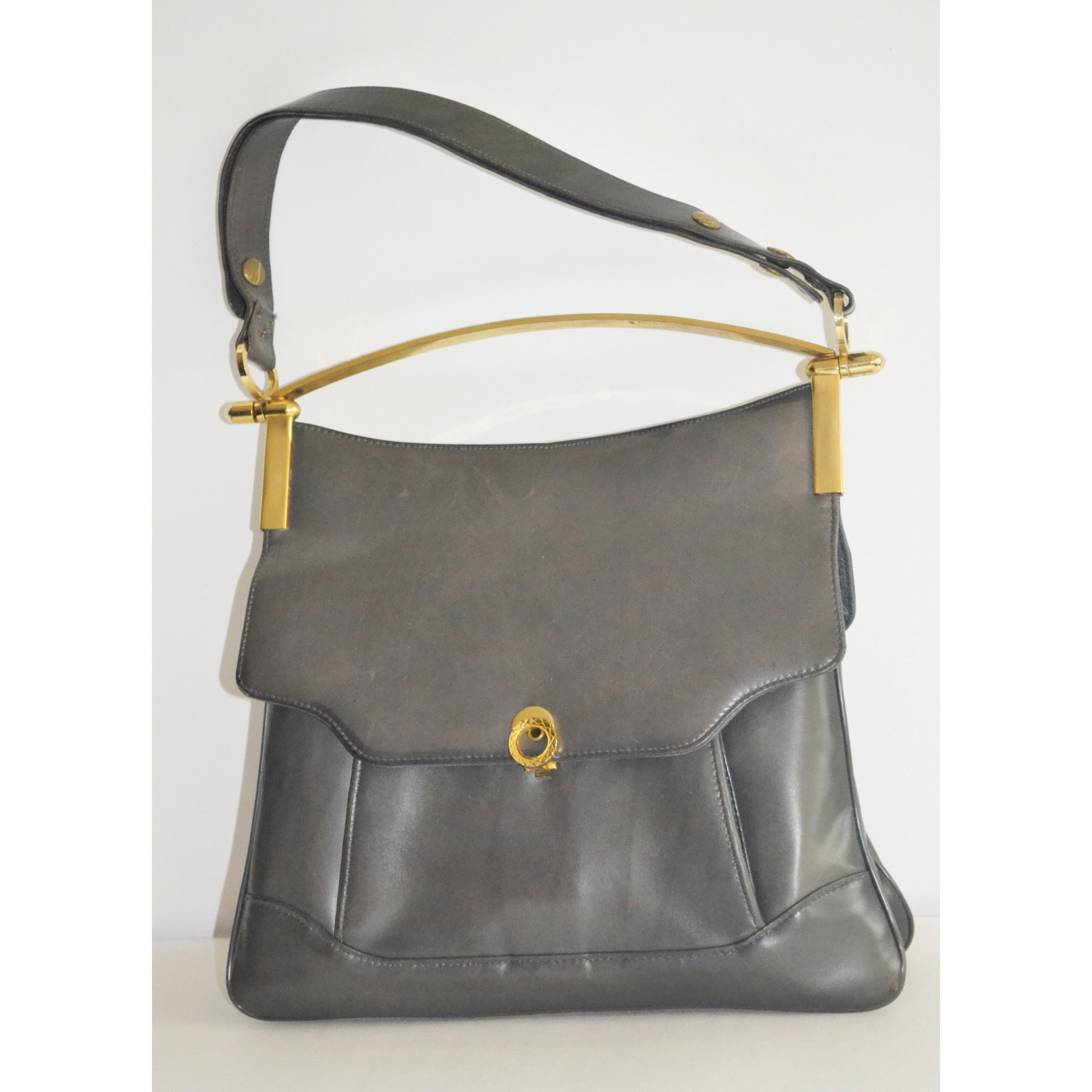 Vintage Grey Leather Pouch Structured Handbag