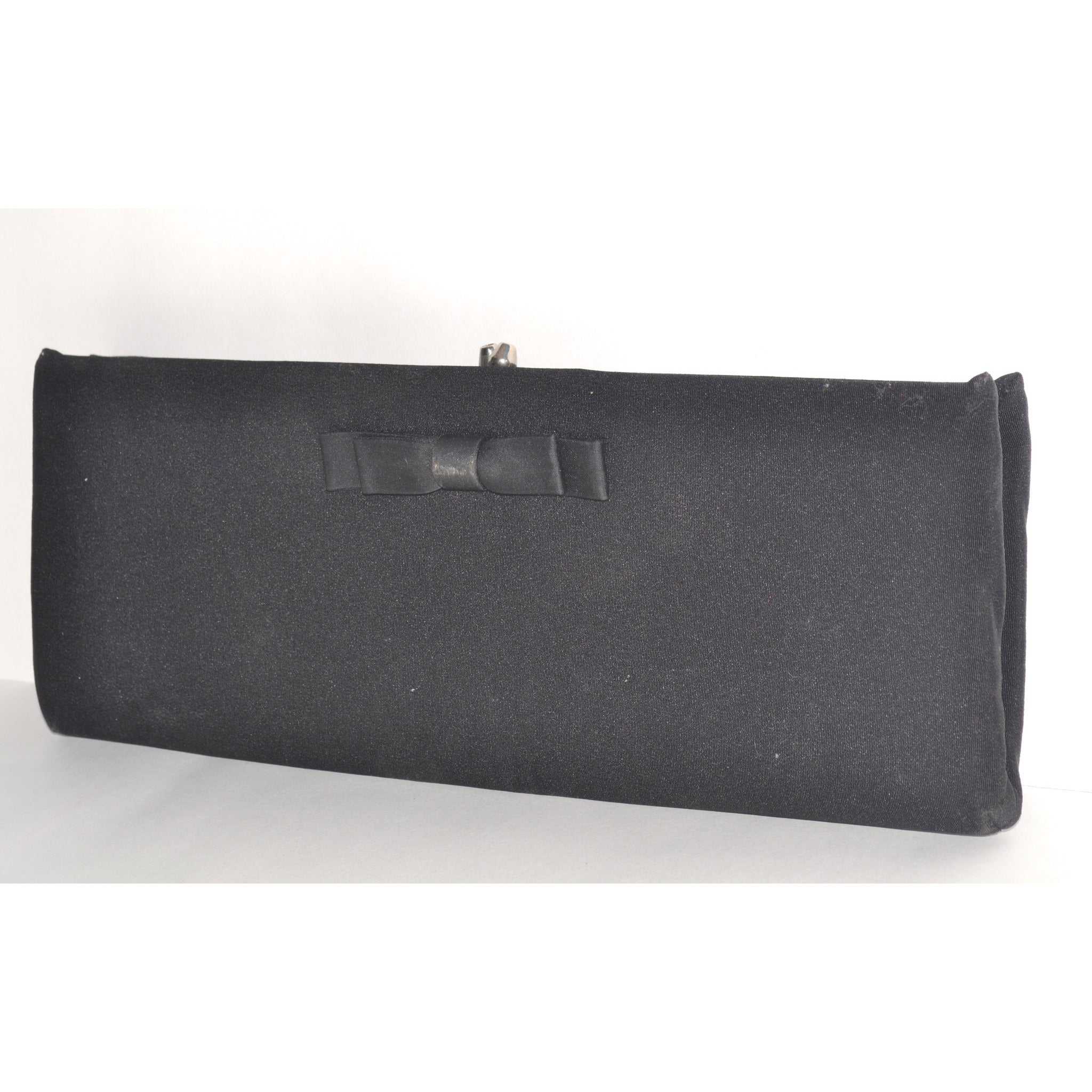 Vintage Bowtie Black Clutch Purse By HL