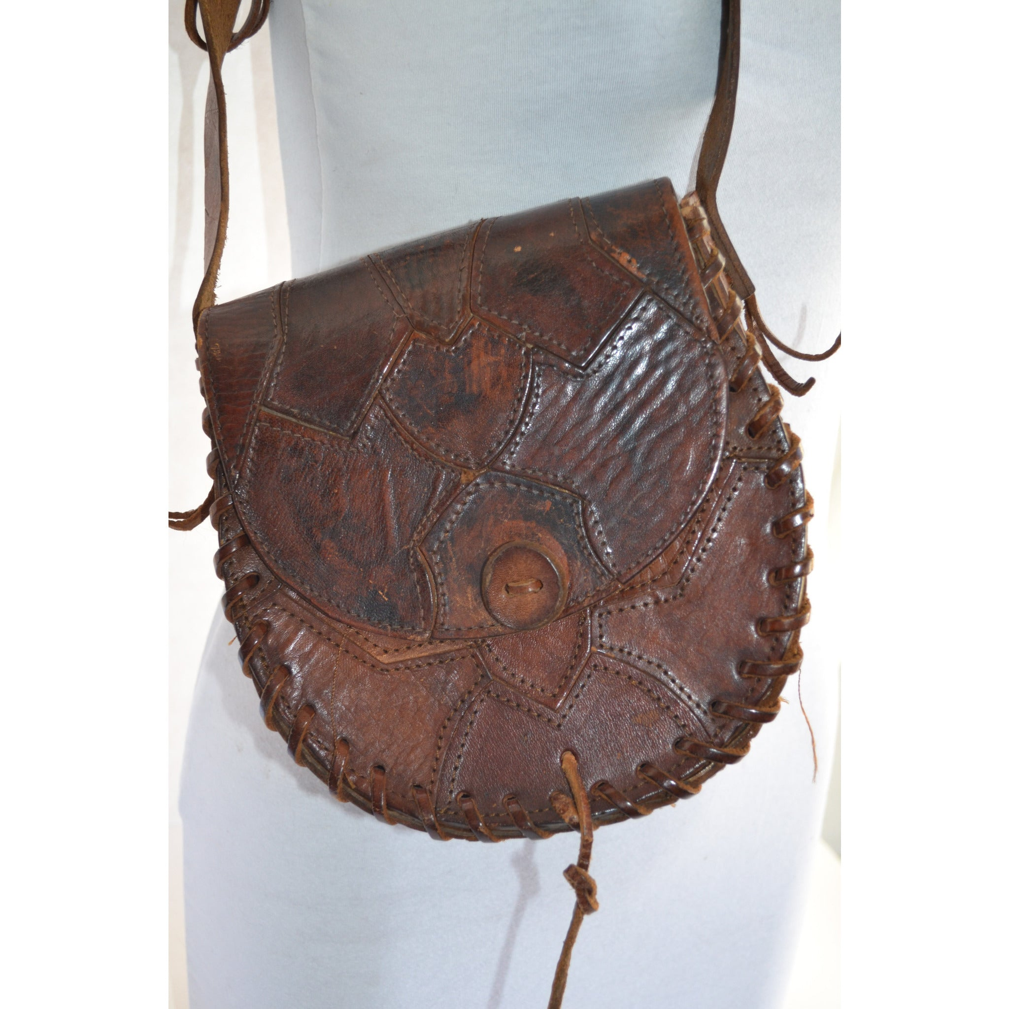 Vintage Patched Leather Hippy Bag Purse - Spain