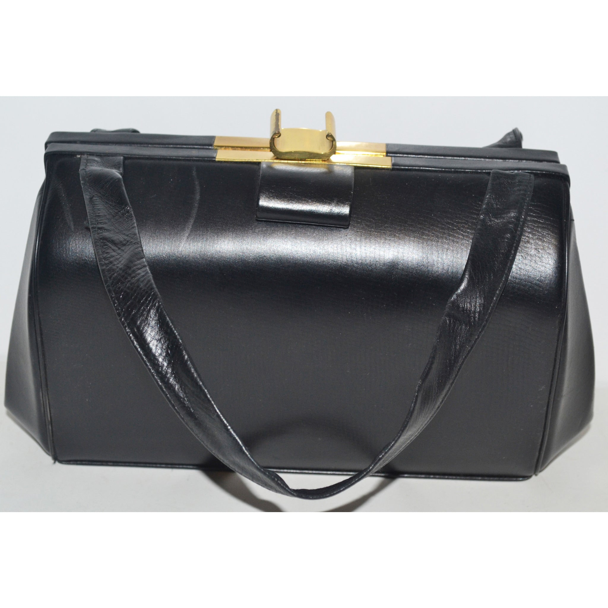 Vintage Black Leather Handbag By Jenny