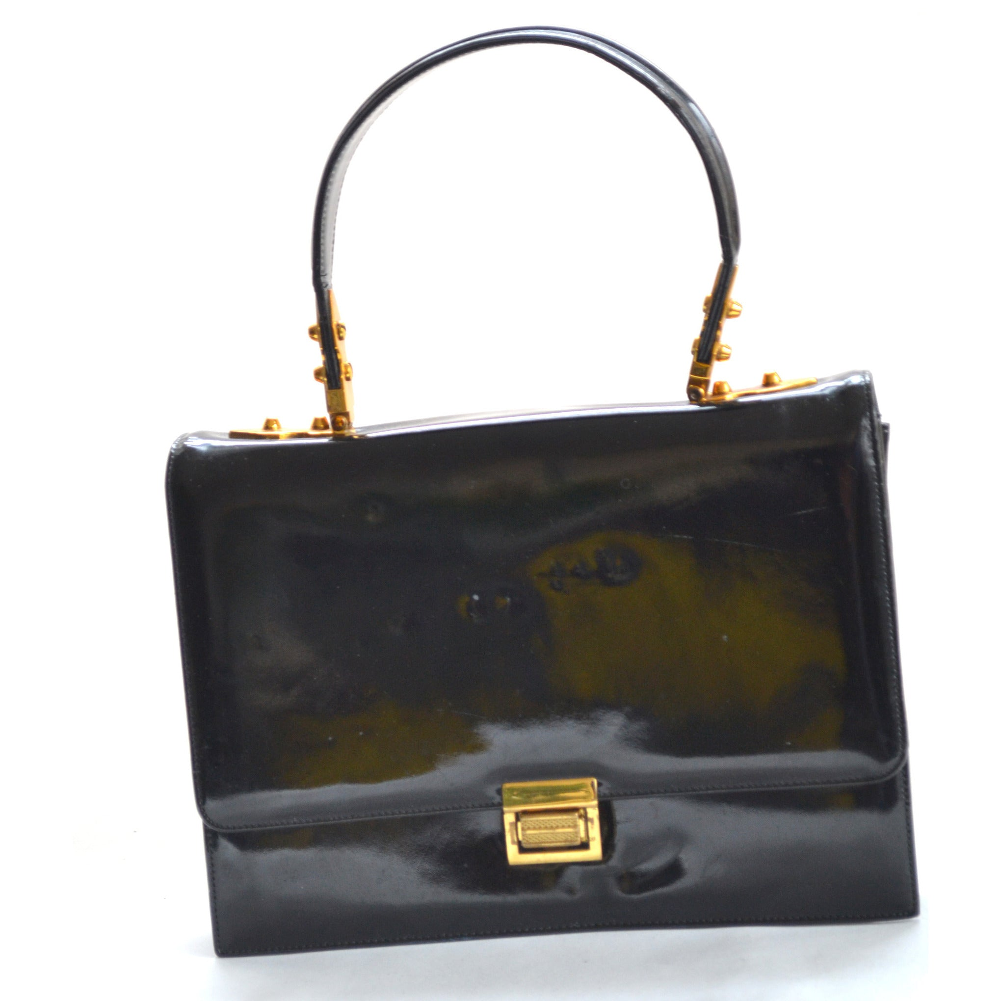 Vintage Black Patent Purse By Jerry Moss Holiday