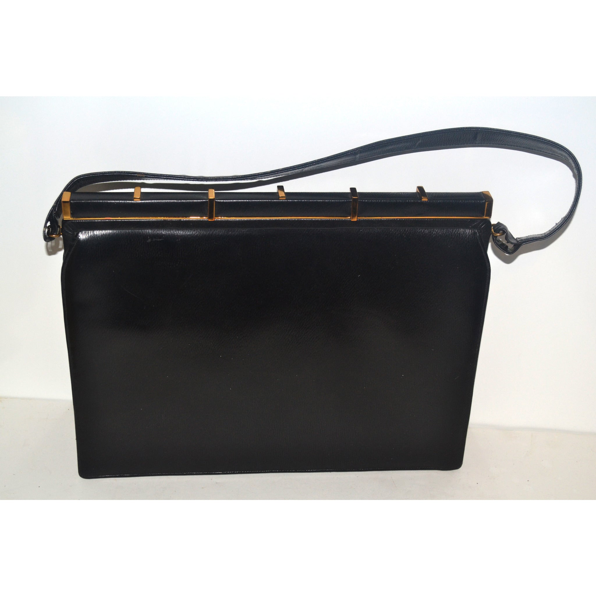 Vintage Black Leather Purse By Jerry Moss Holiday