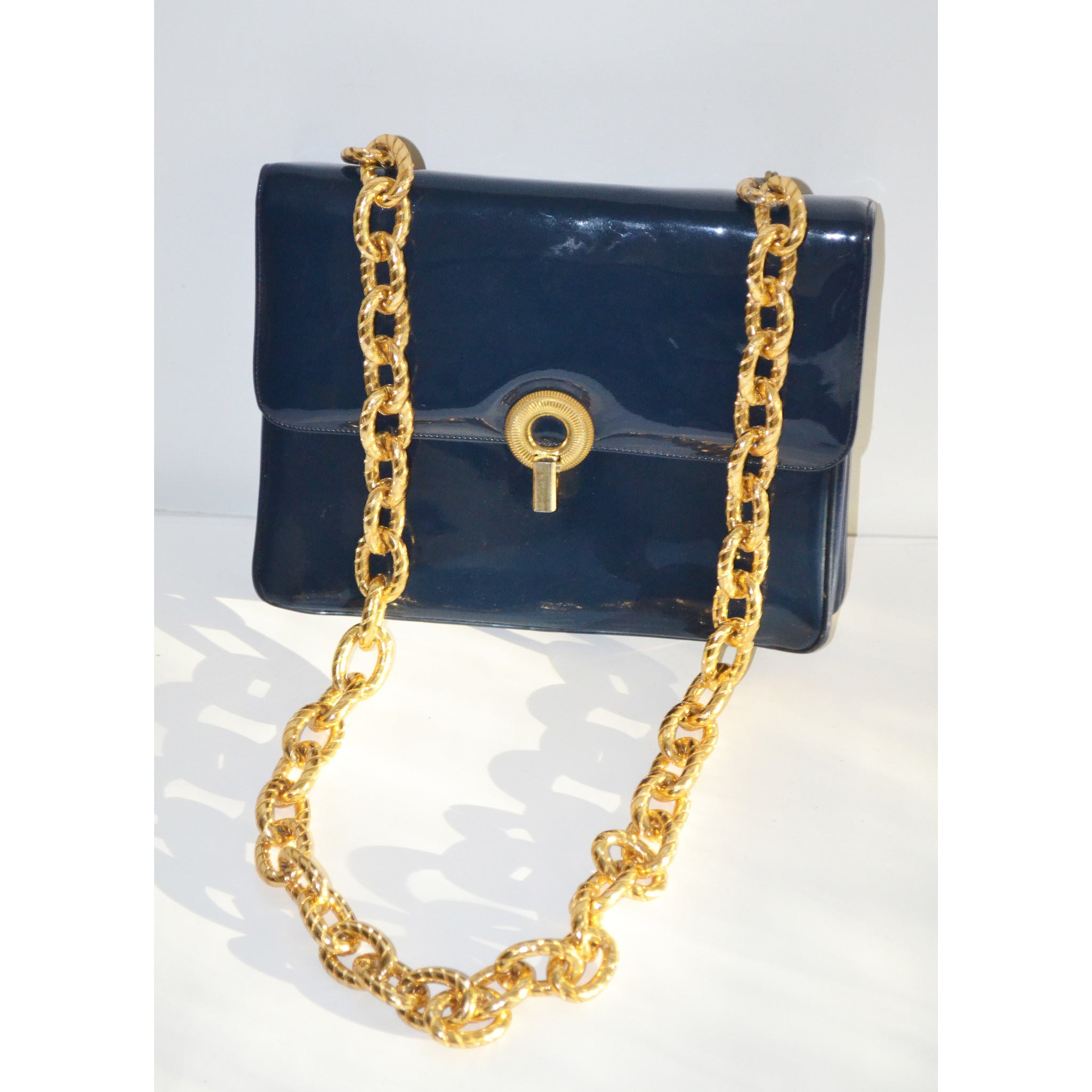 Vintage Navy Patent Gold Chain Purse By Joseph