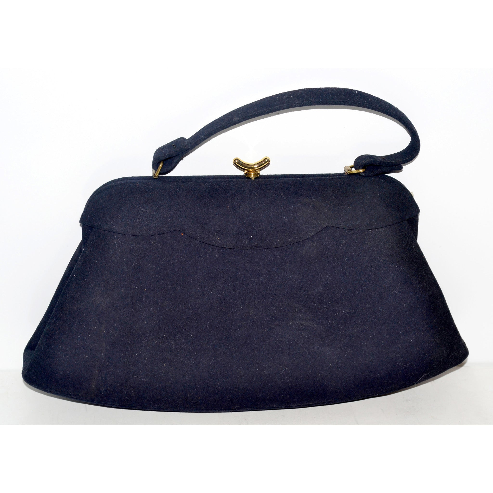 Vintage Navy Suede Purse By Kessler