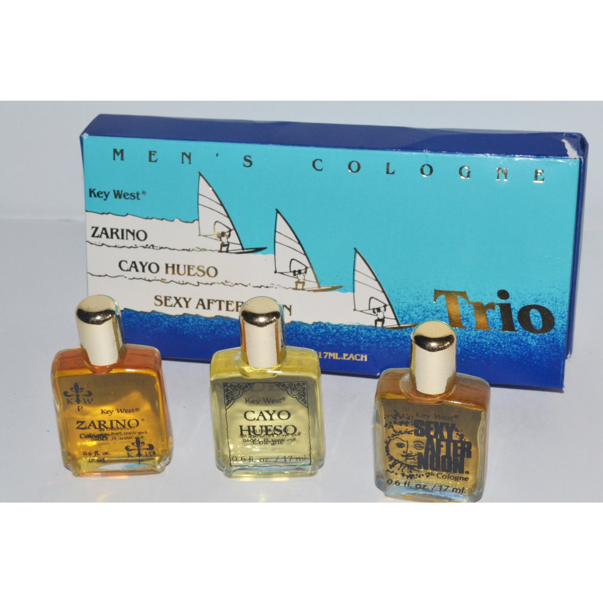Vintage Key West Men's Trio Cologne - Zarino, Cayo Hueso, Sexy Afternoon