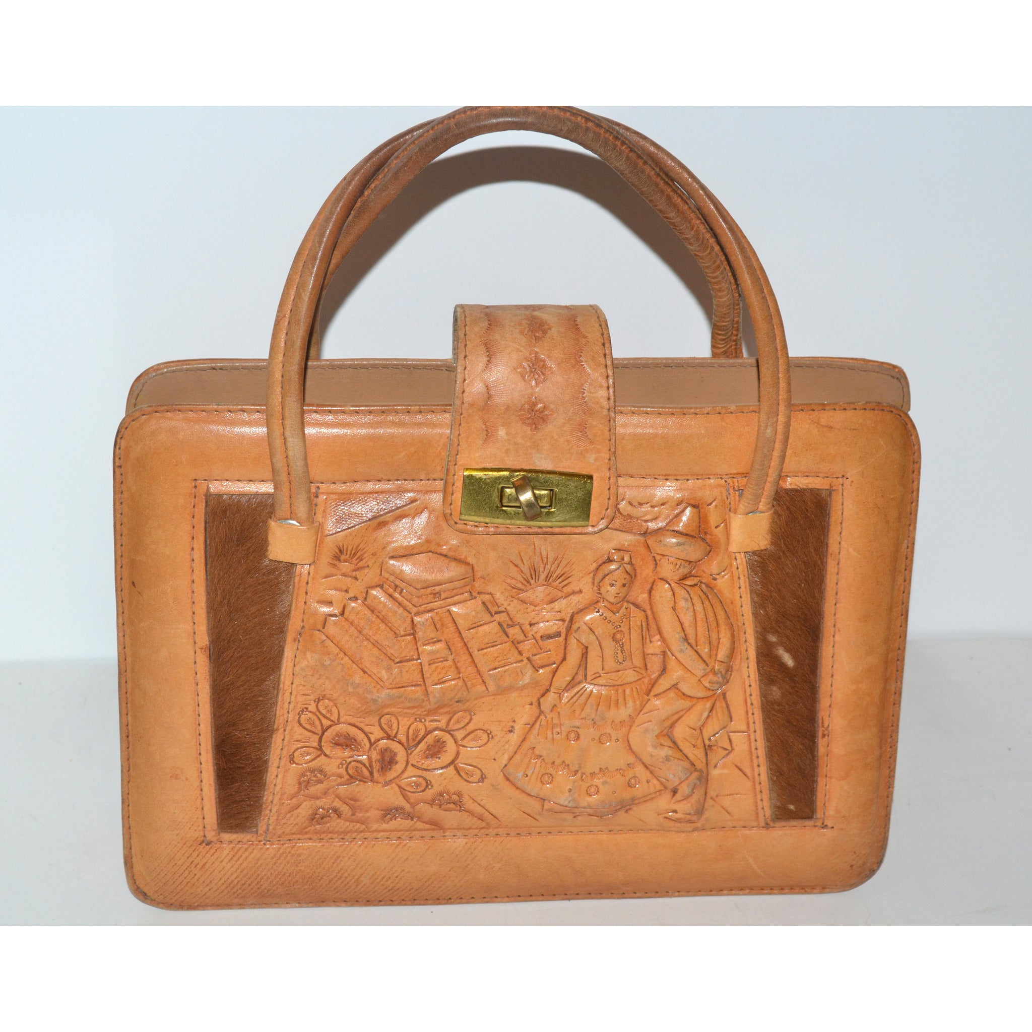 Vintage Tan Tooled Mexican Leather Ponyhair Purse
