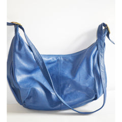 Vintage Blue Leather Hobo Purse By Lindsey Blake