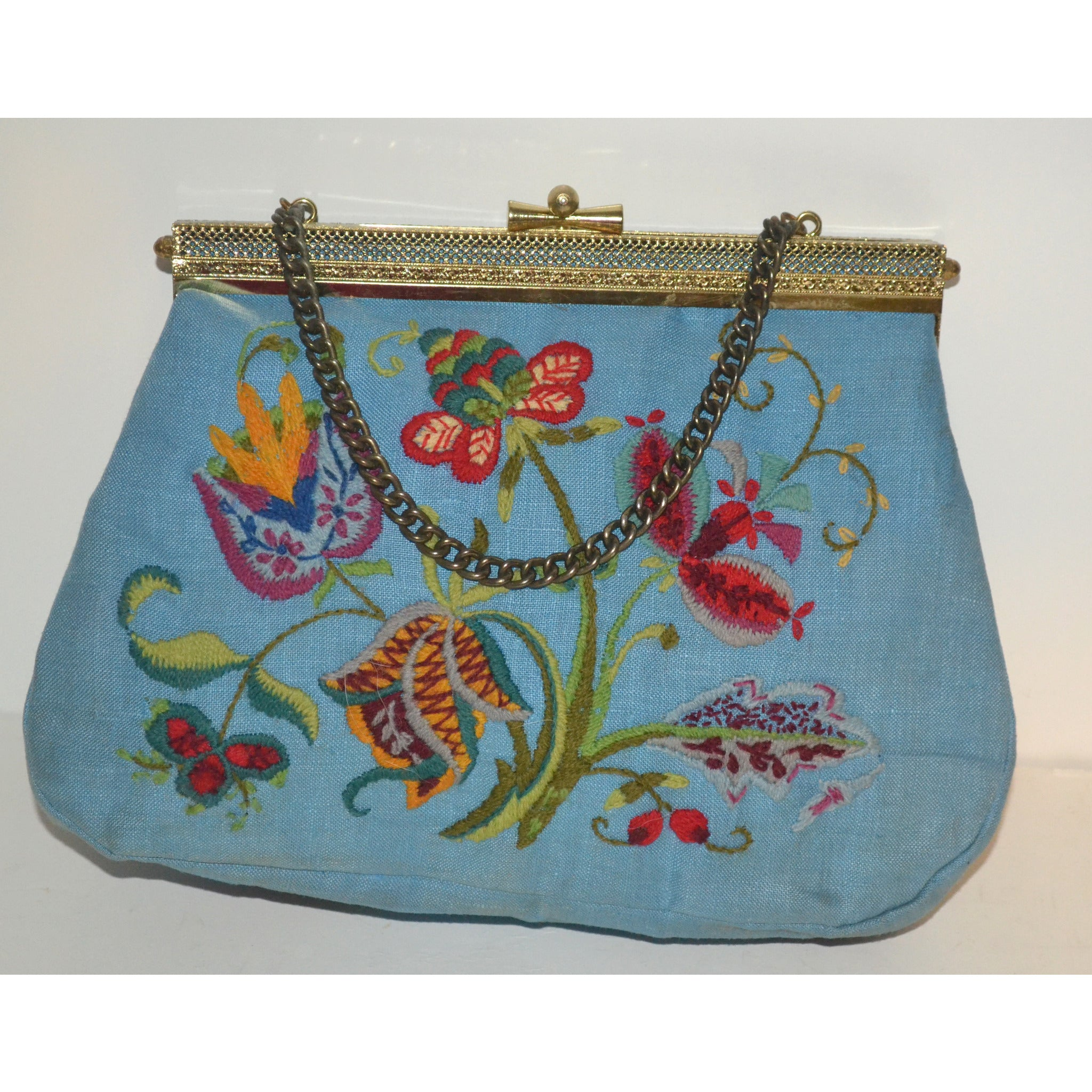 Vintage Blue Embroidered Purse By Lois