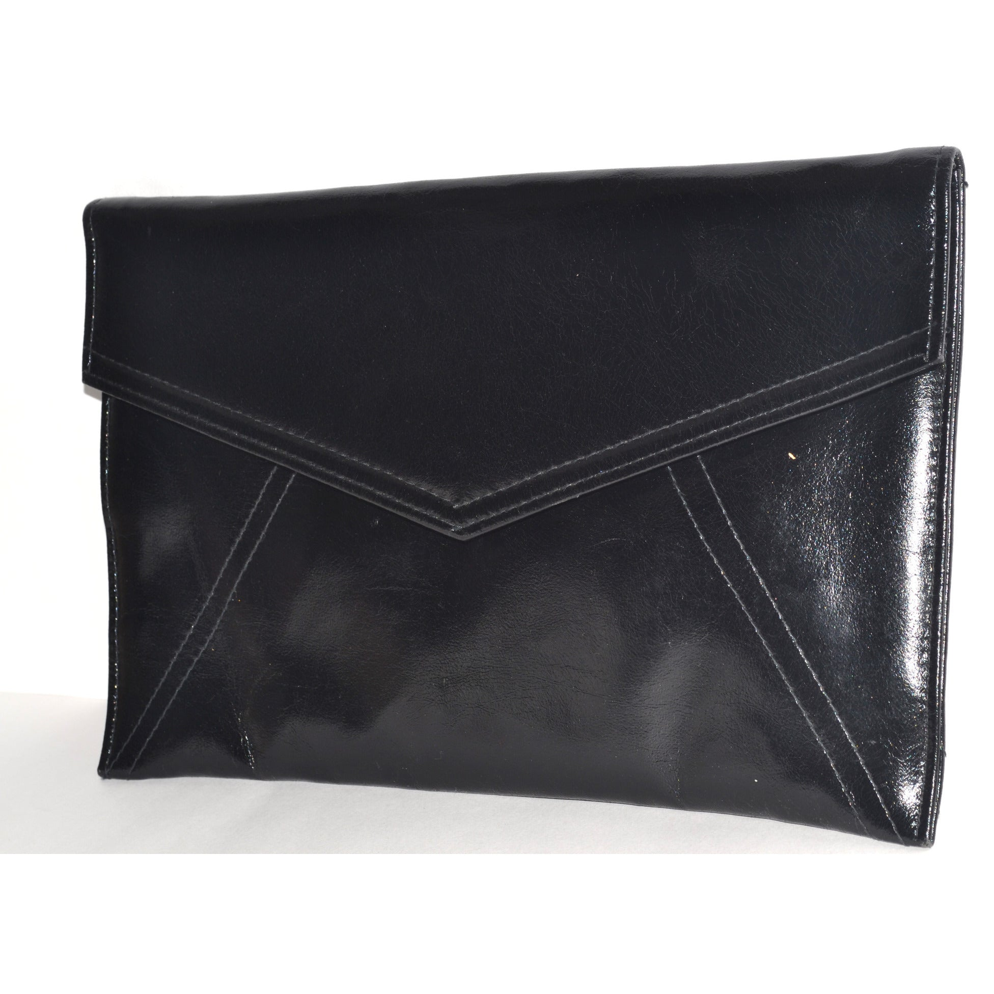 Vintage Black Envelope Clutch Purse By Lord & Taylor