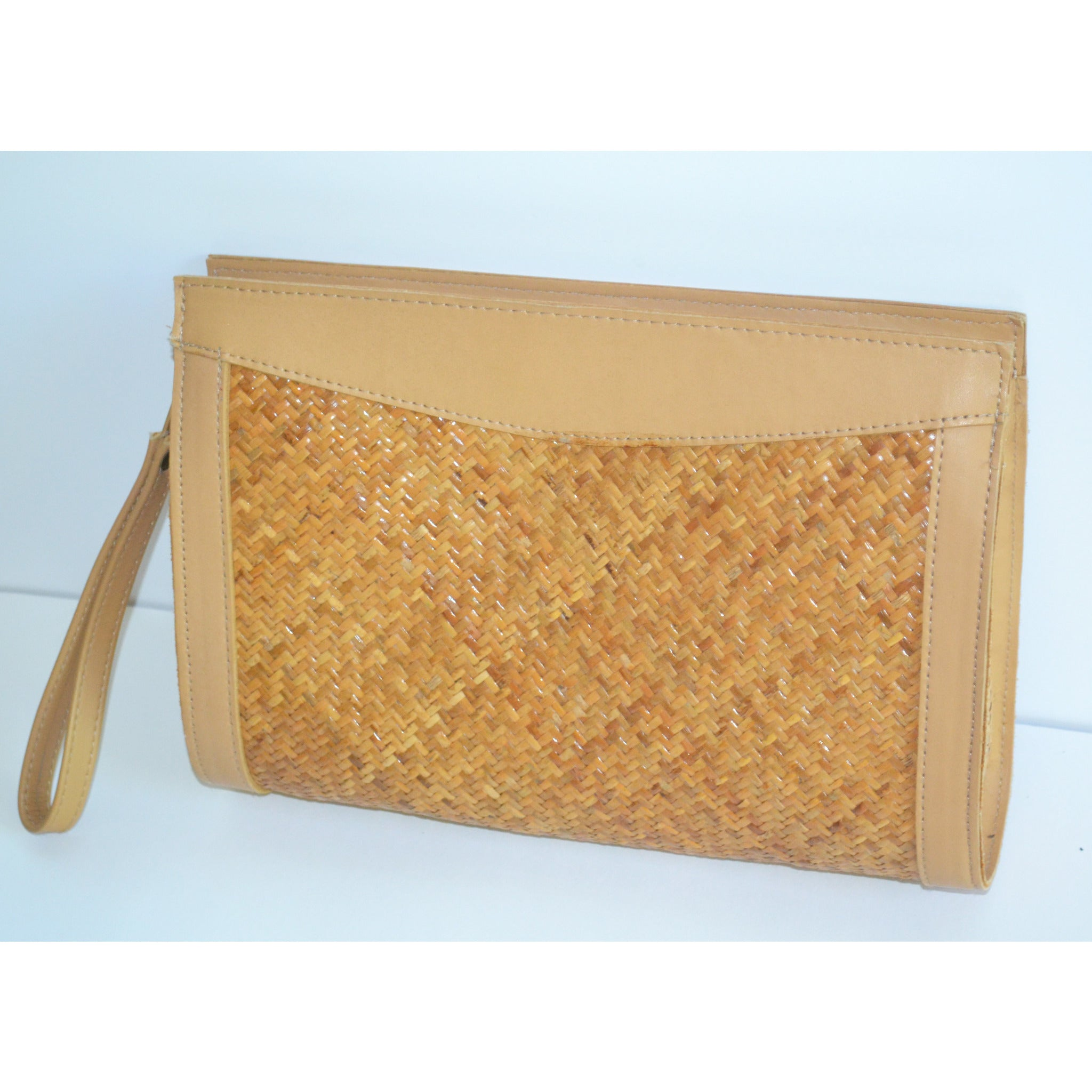 Vintage Leather & Straw Purse By Lord & Taylor