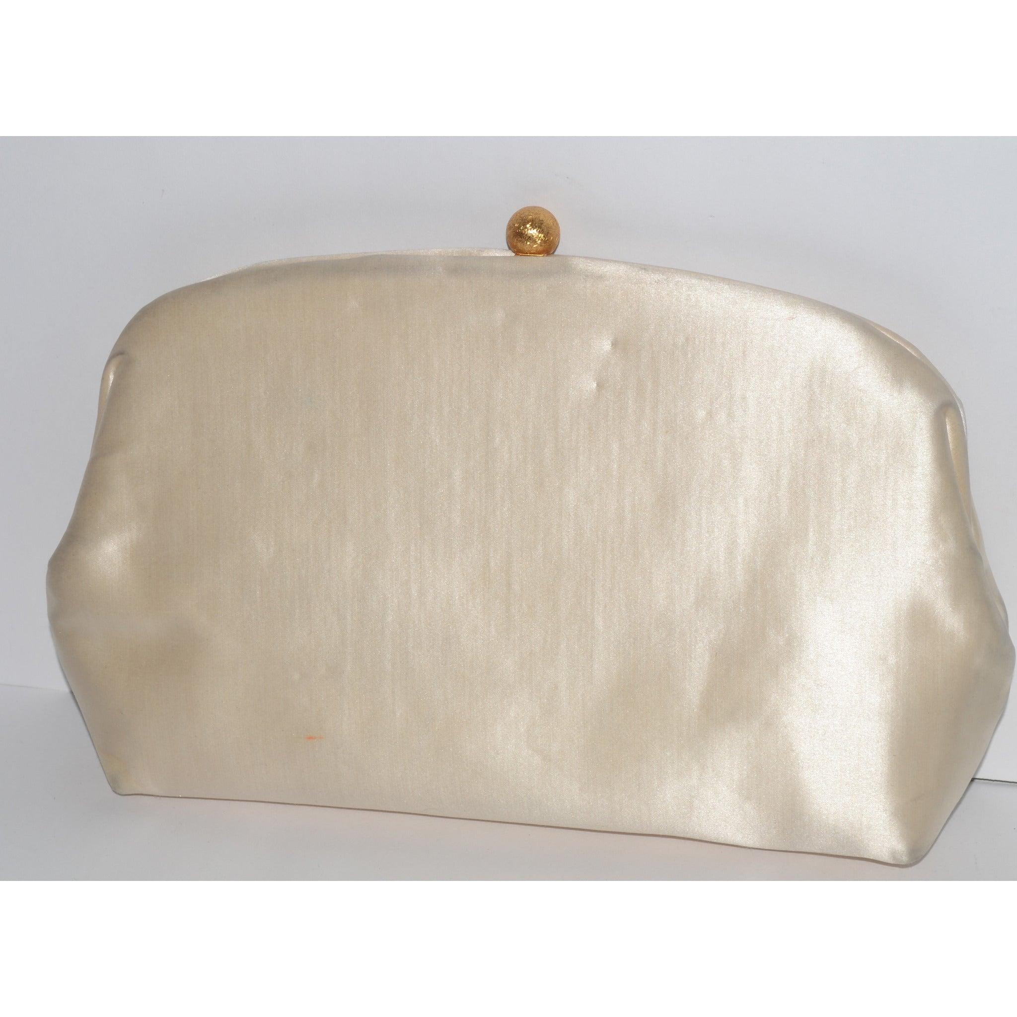 Vintage Beige Silk Pouch Clutch Purse By MM