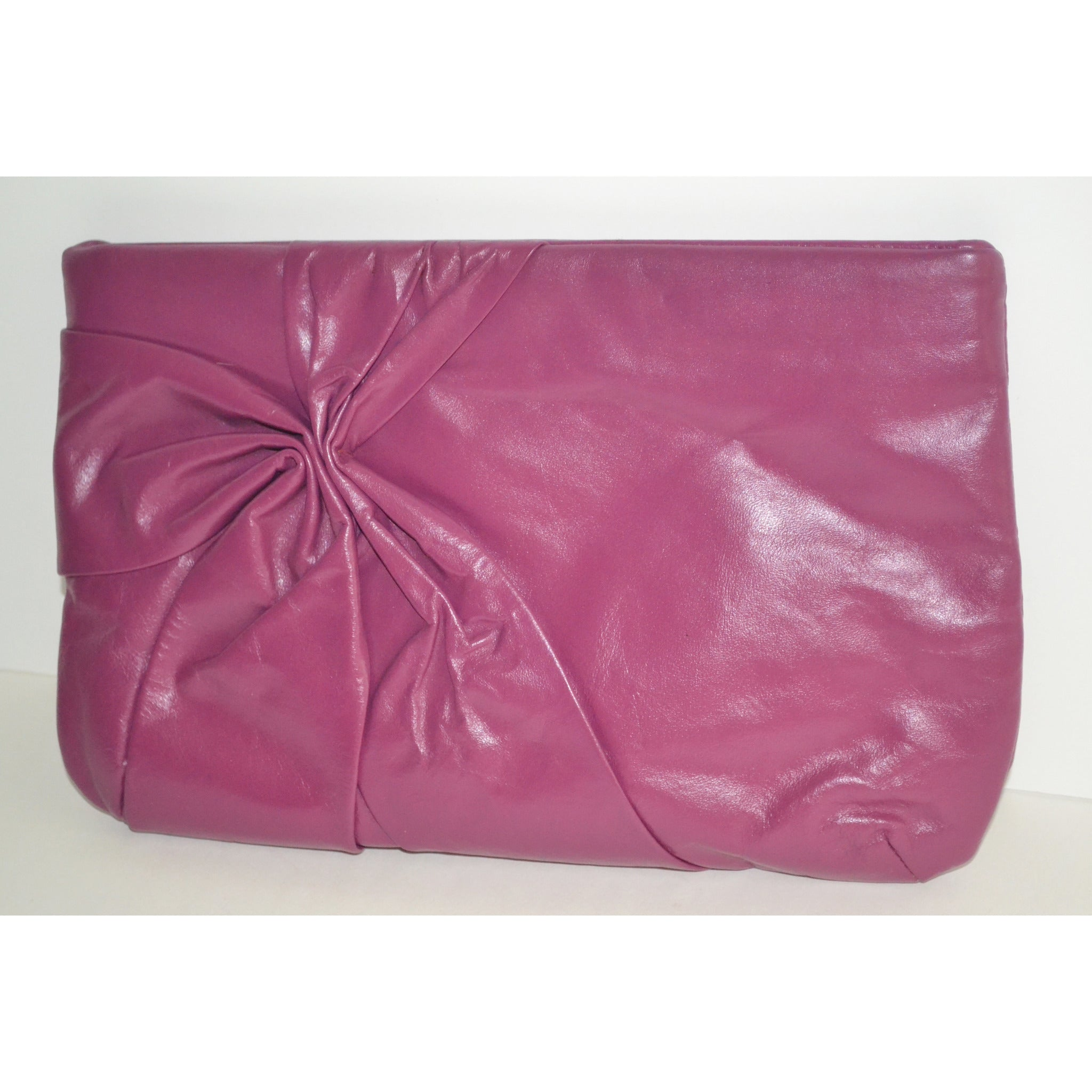 Vintage Magenta Leather Clutch Purse