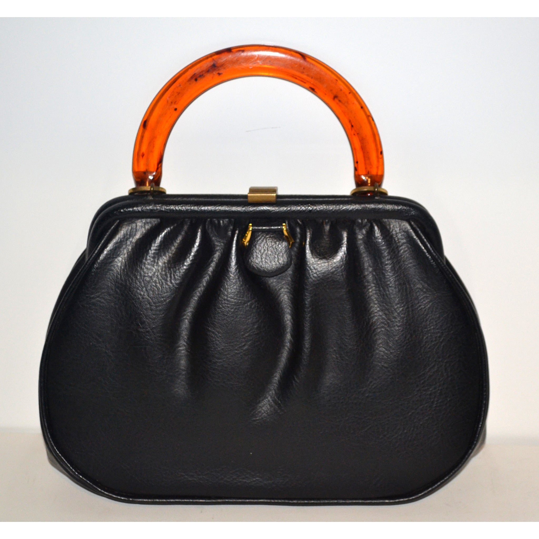 Vintage Black Leather & Tortoise Purse By Markay