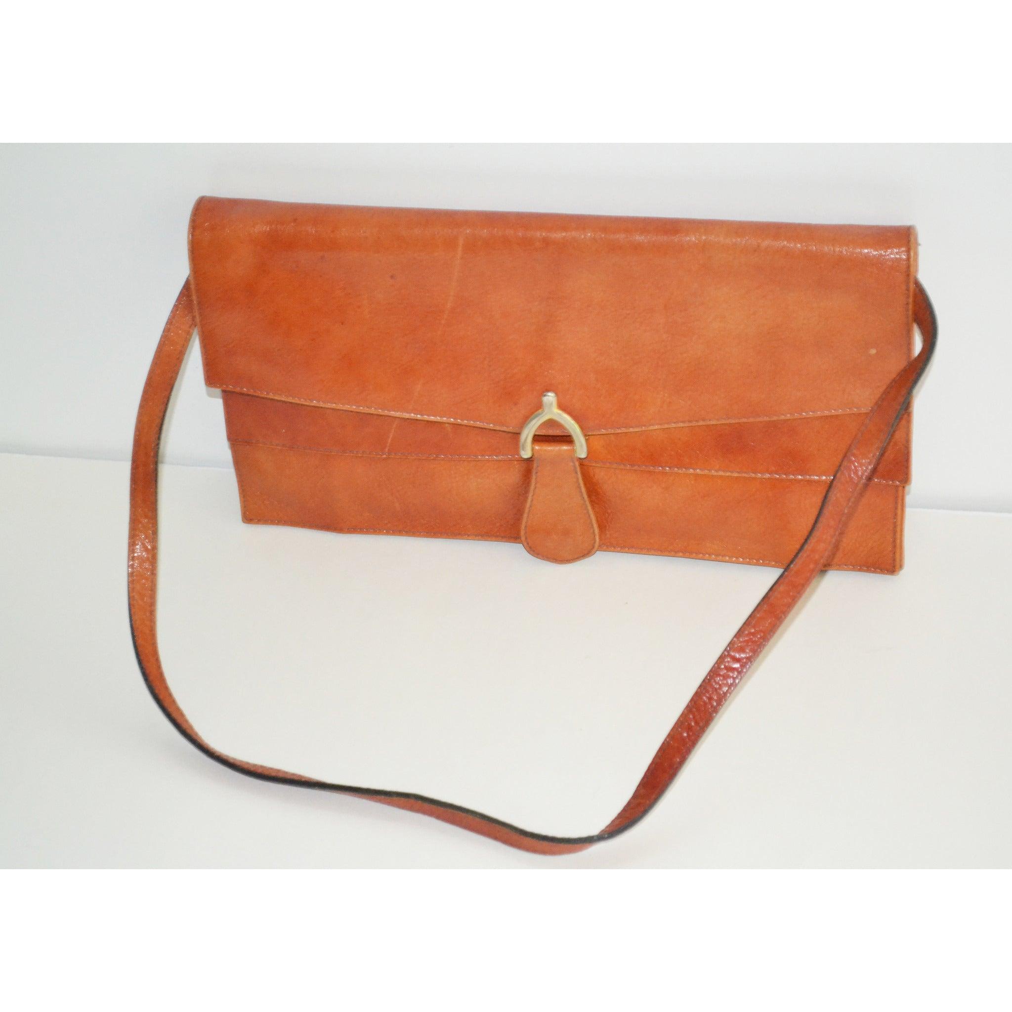 Vintage Orange Leather Flap Purse By Marshall Fields