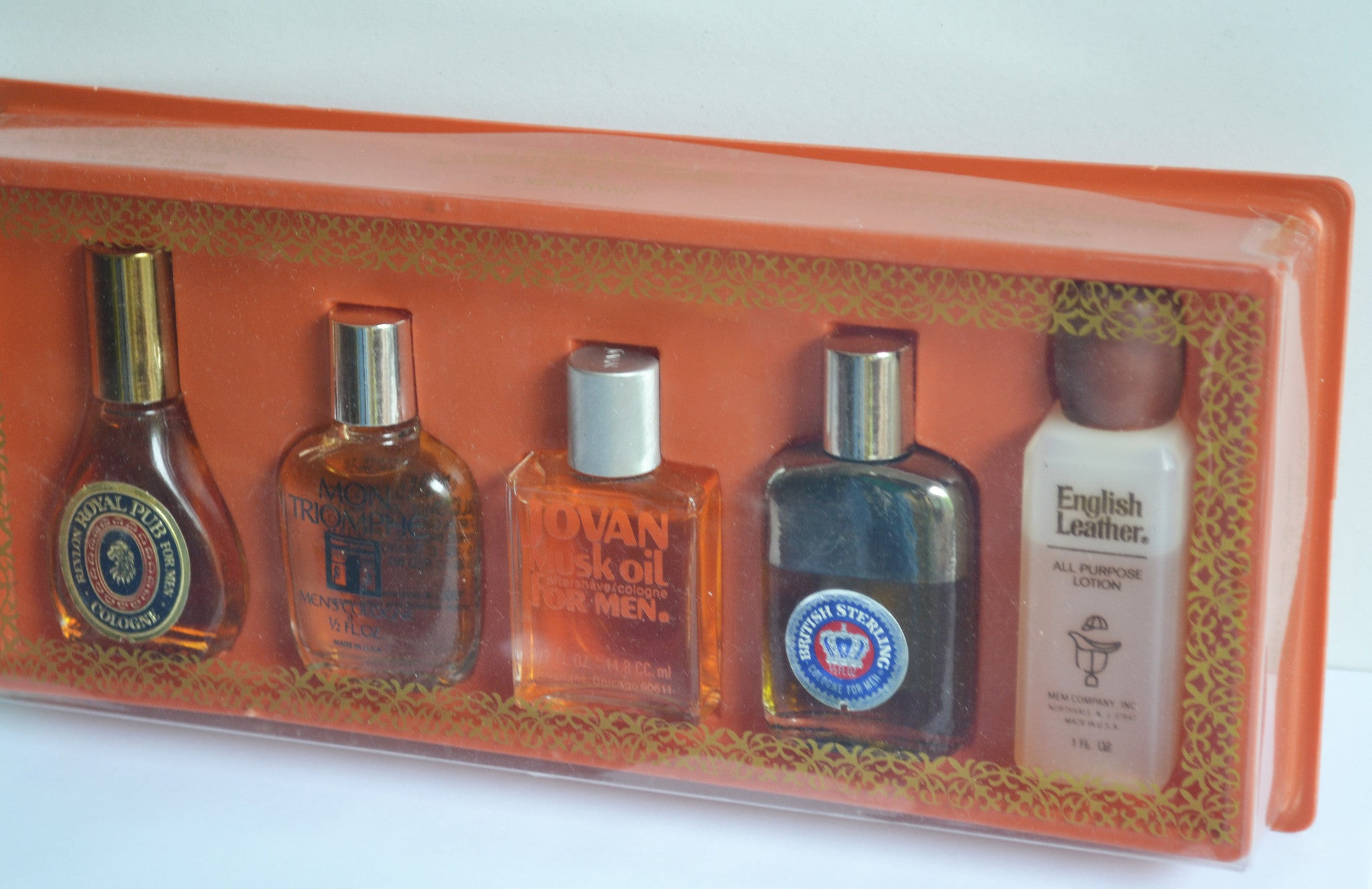 Mens Cologne Set - Revlon Royal Pub, Mon Triomphe, Jovan Musk, British Sterling, MEM English Leather
