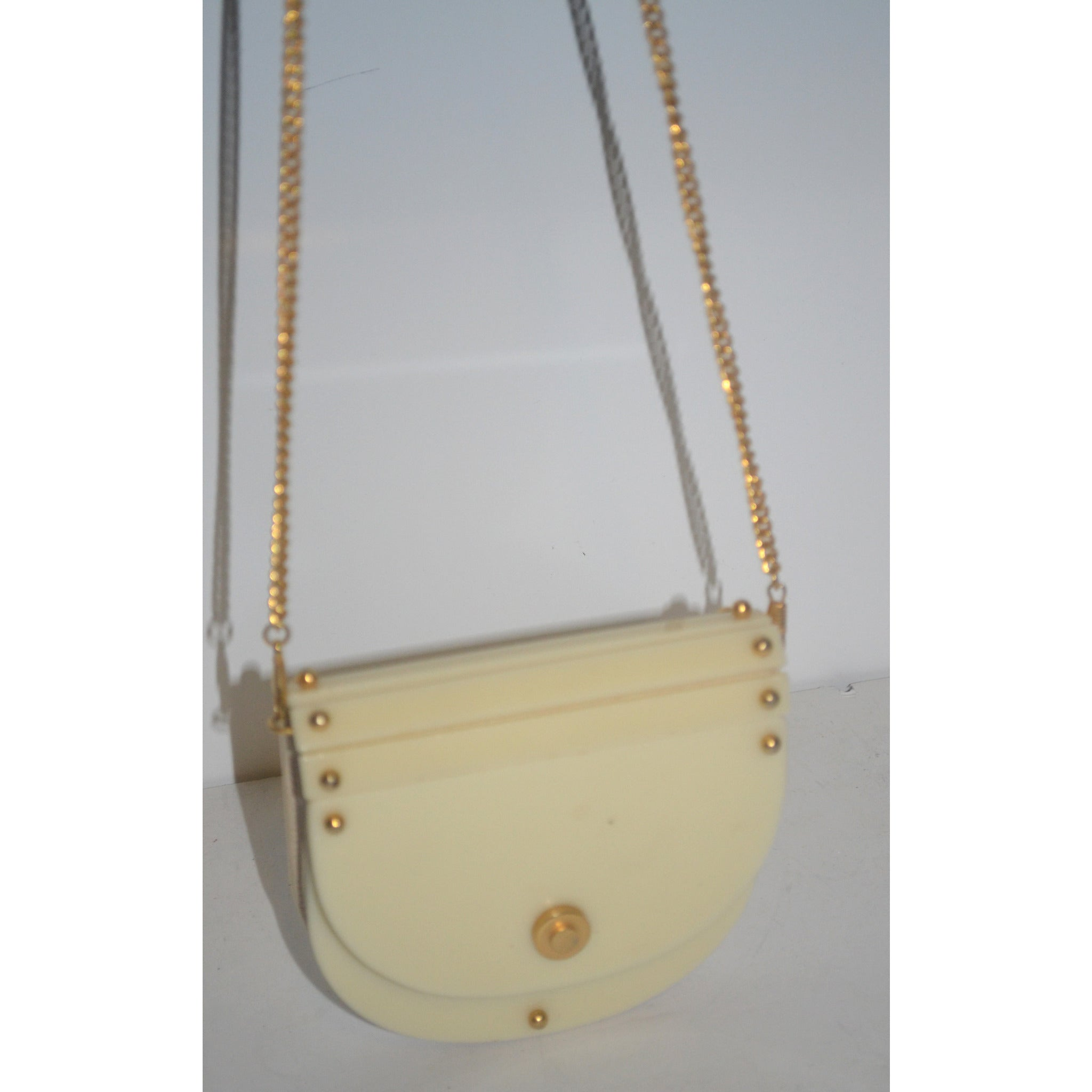 Vintage Lucite Leather Shoulder Purse By Meyers