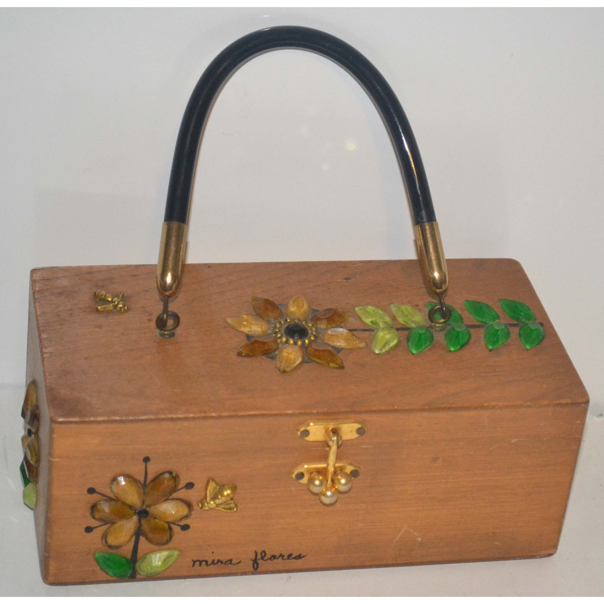 Vintage Mira Flores Wooden Boxed Purse By Enid Collins