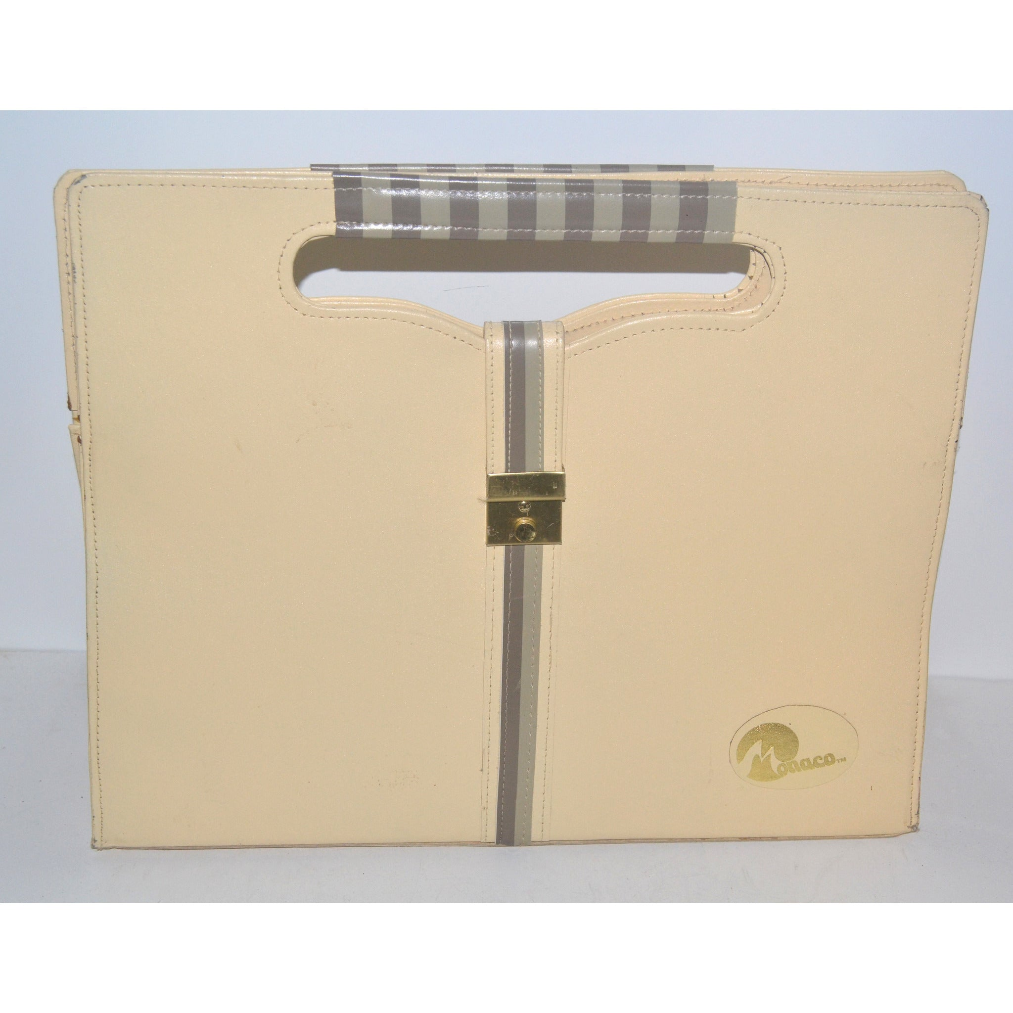 Vintage Chic Cream Leather Square Purse By Monaco