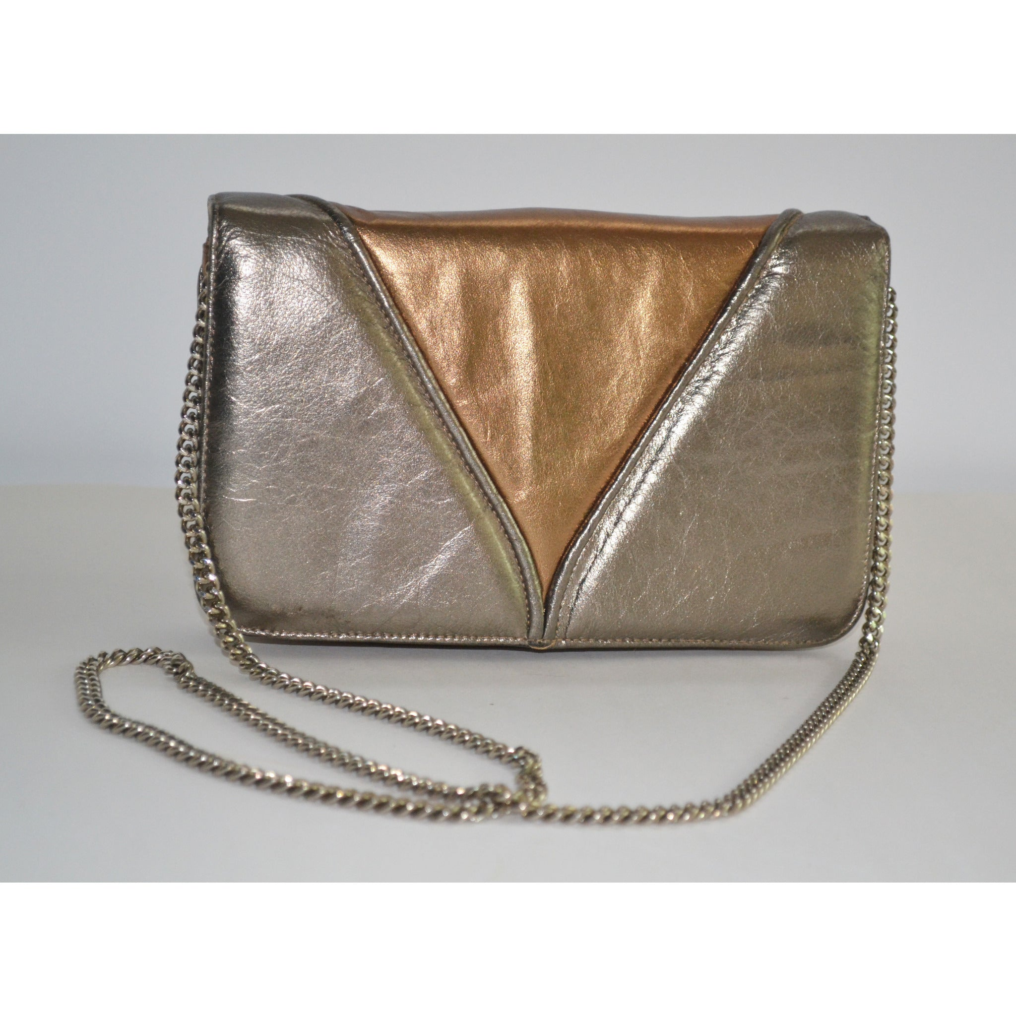 Vintage Gold Metallic Leather Purse By Morle