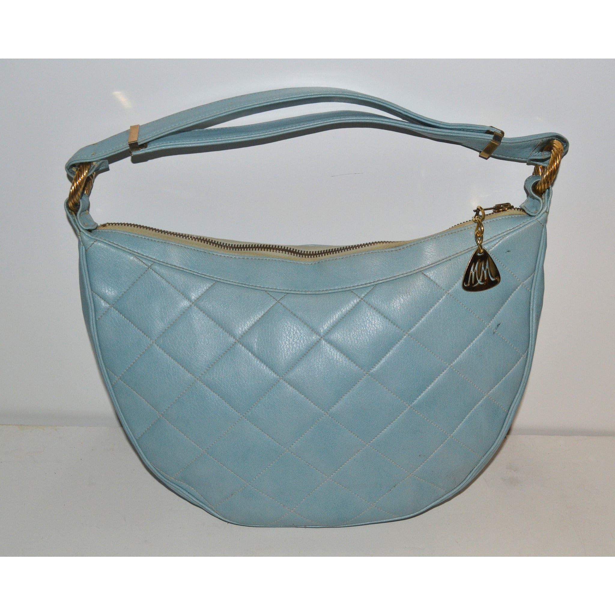 Vintage Blue Quilted Leather Purse By Morris Mosokowitz
