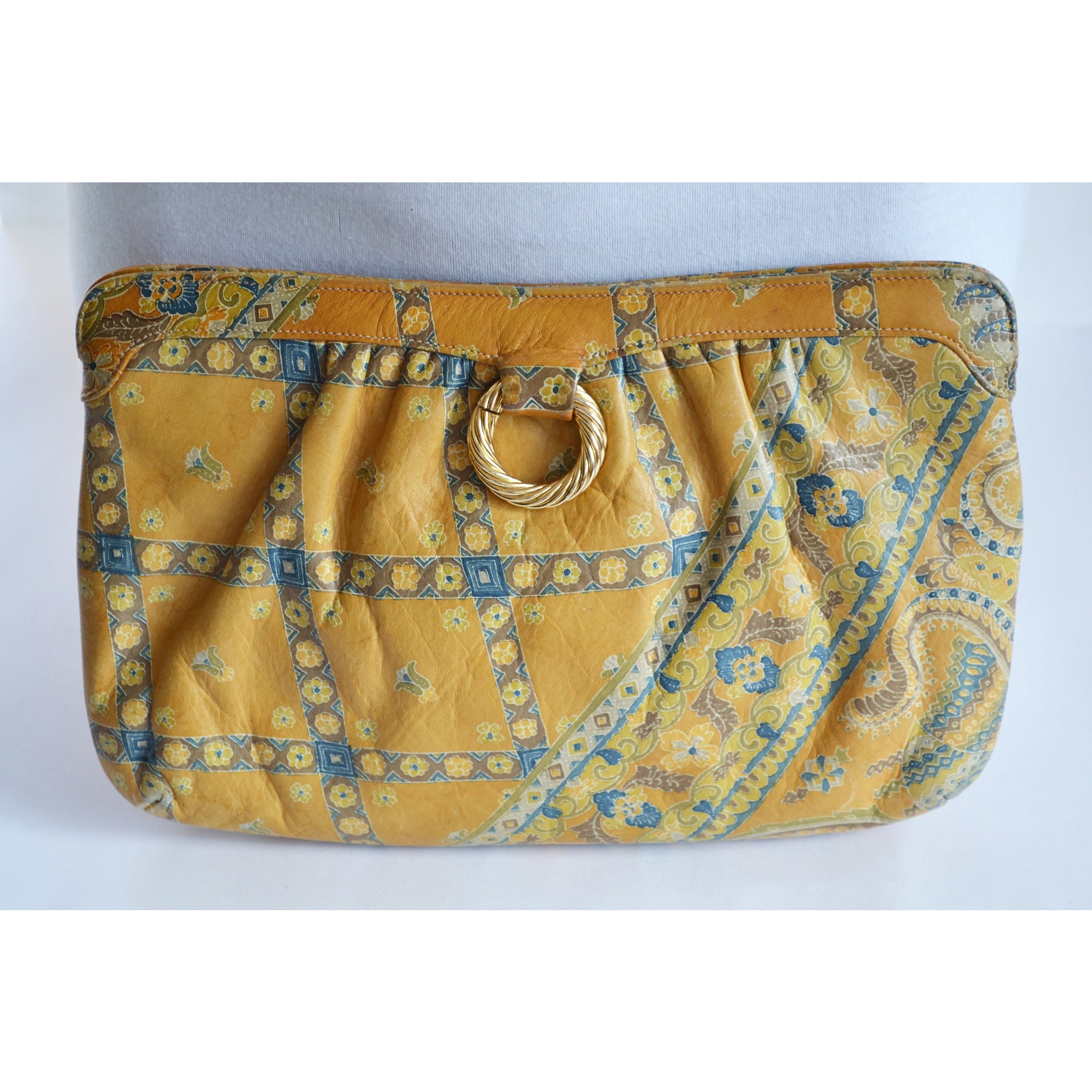 Vintage Paisley Leather Clutch Purse By Morris Moskowitz