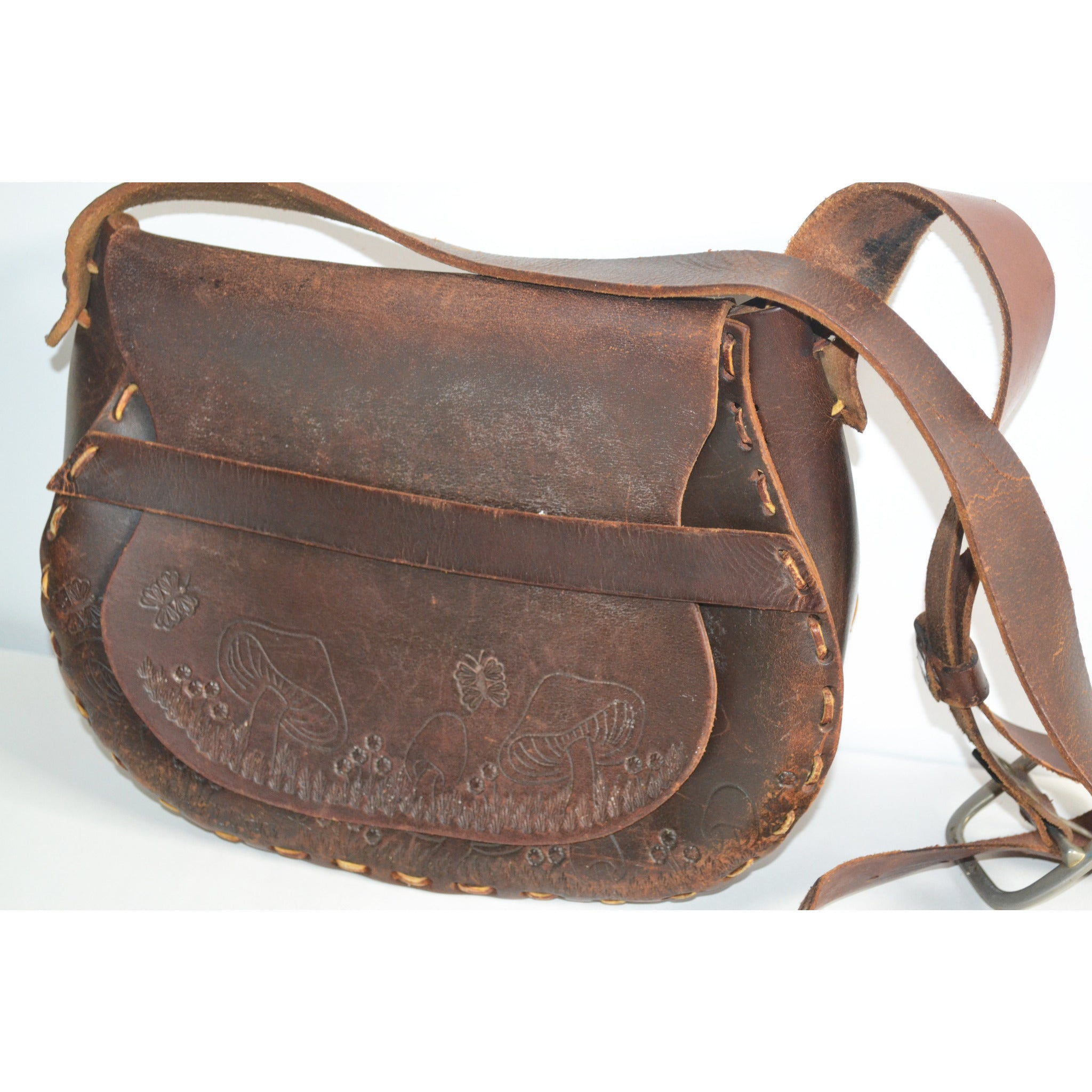 Vintage Brown Tooled Leather Mushroom Hippy Purse