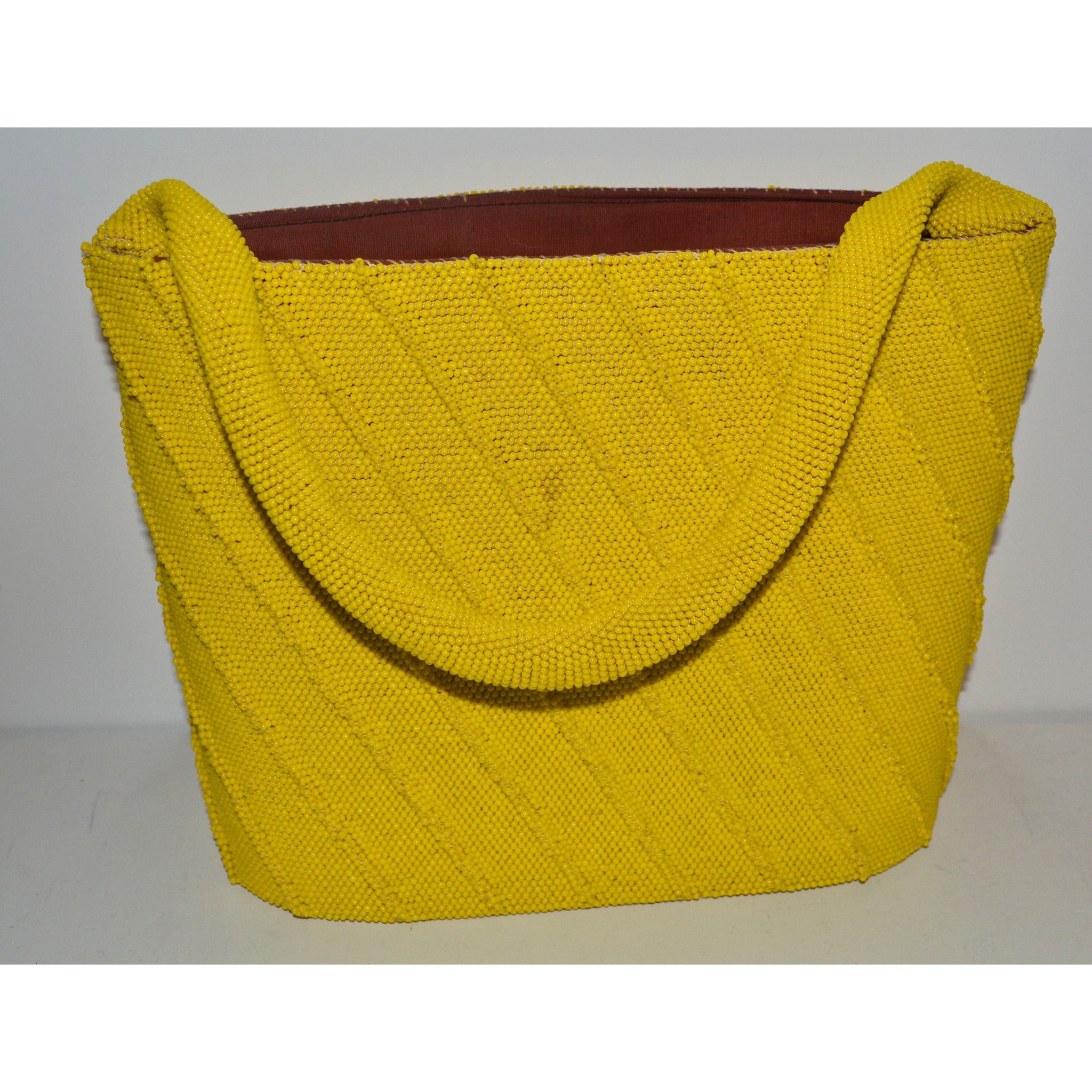 Vintage Yellow Mustard Ribbed Beaded Bucket Purse