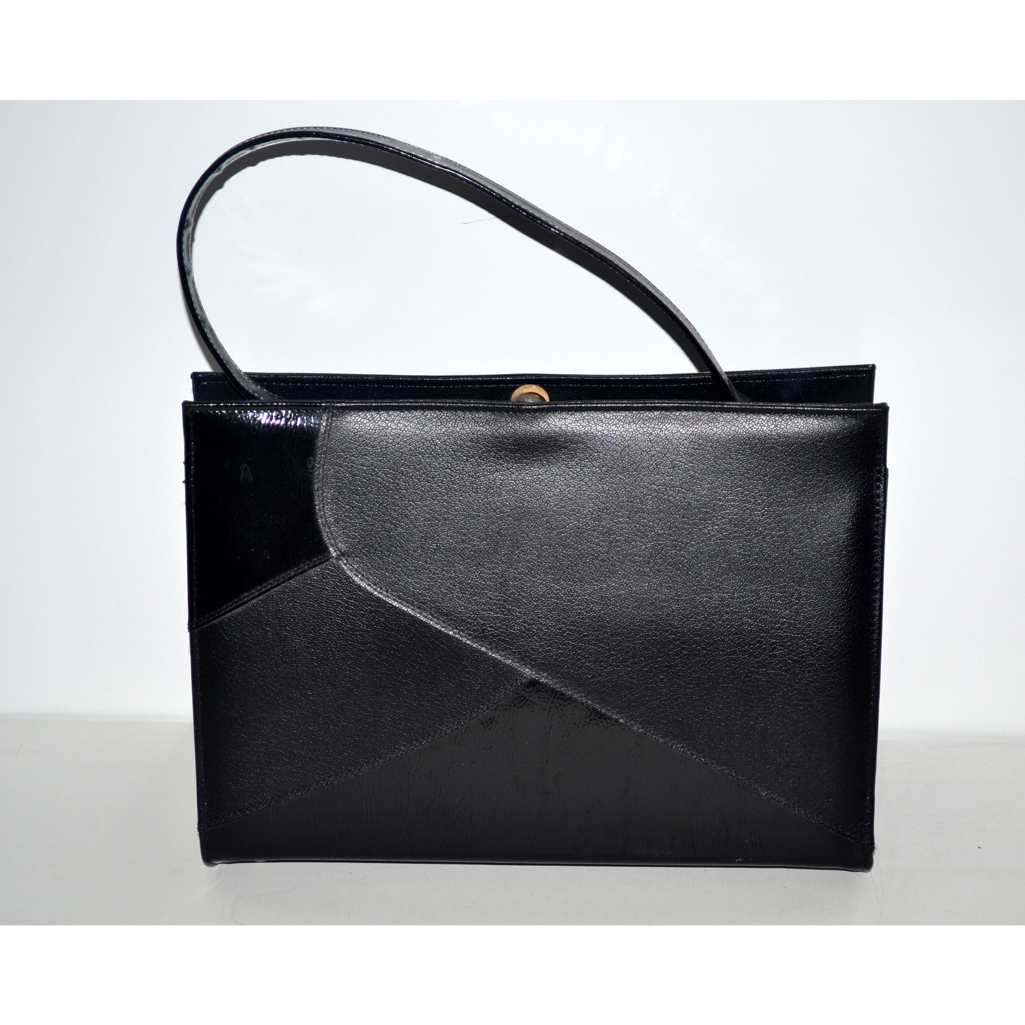 Vintage Black Simulated Leather Handbag By Naturalizer