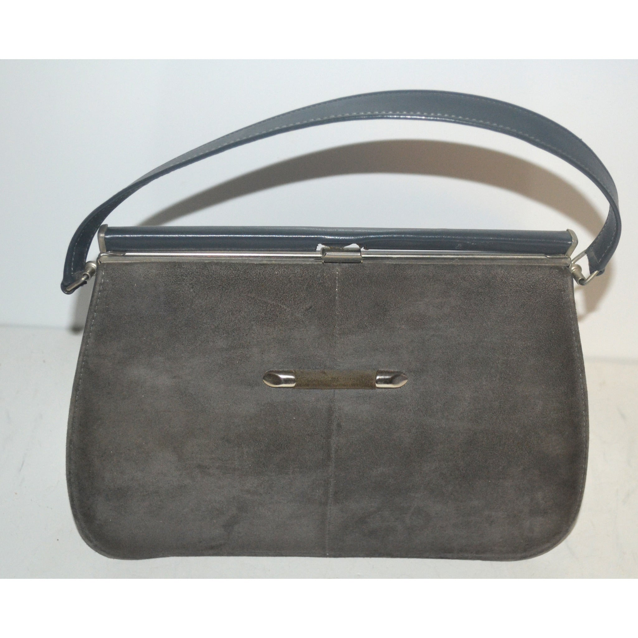 Vintage Grey Suede Handbag By Naturalizer