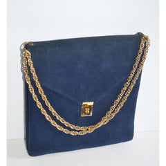 Vintage Navy Suede Gold Chain Purse