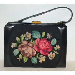 Vintage Black Leather & Needlepoint Purse