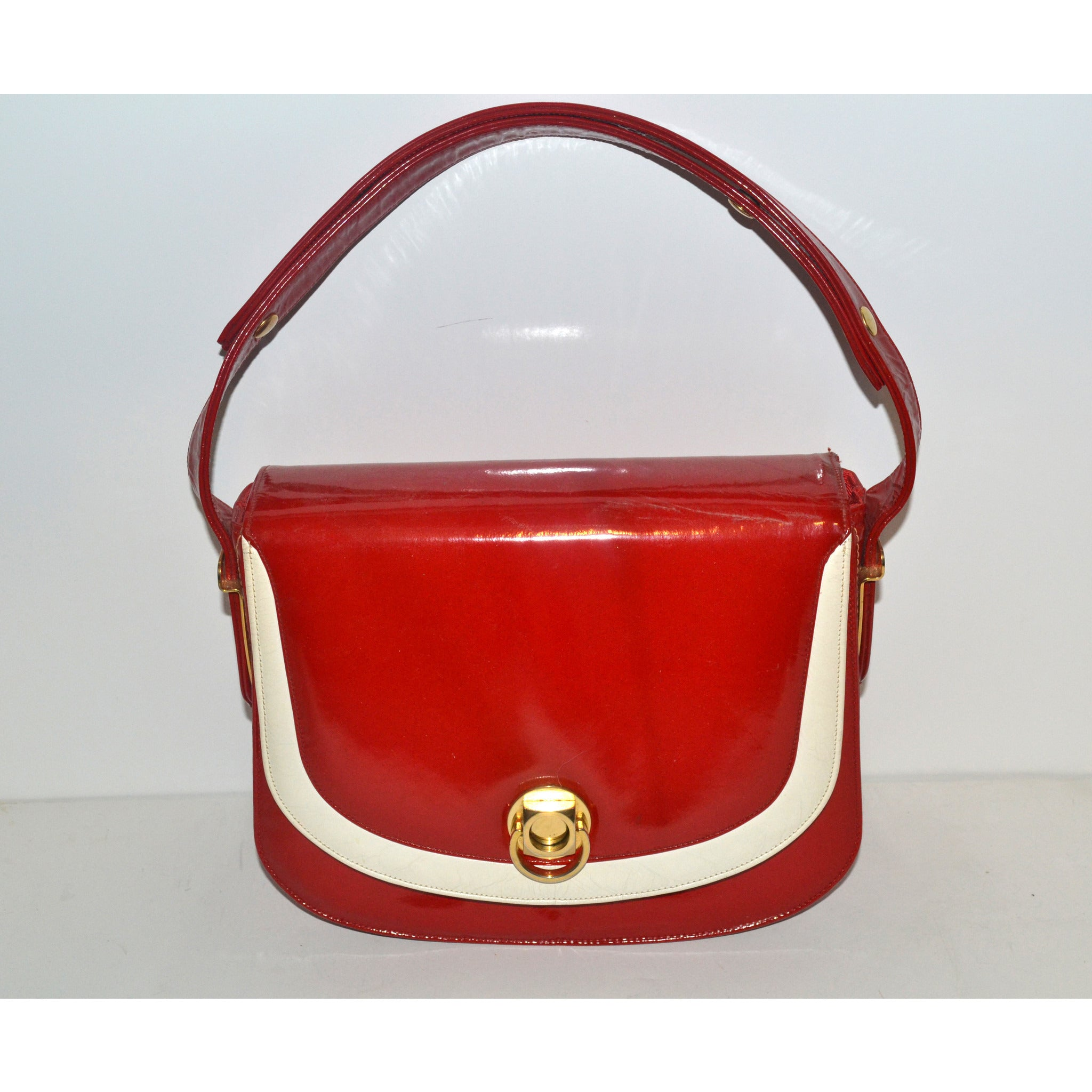 Vintage Red & White Patent Leather Purse By  Nicholas Reich- 1960's