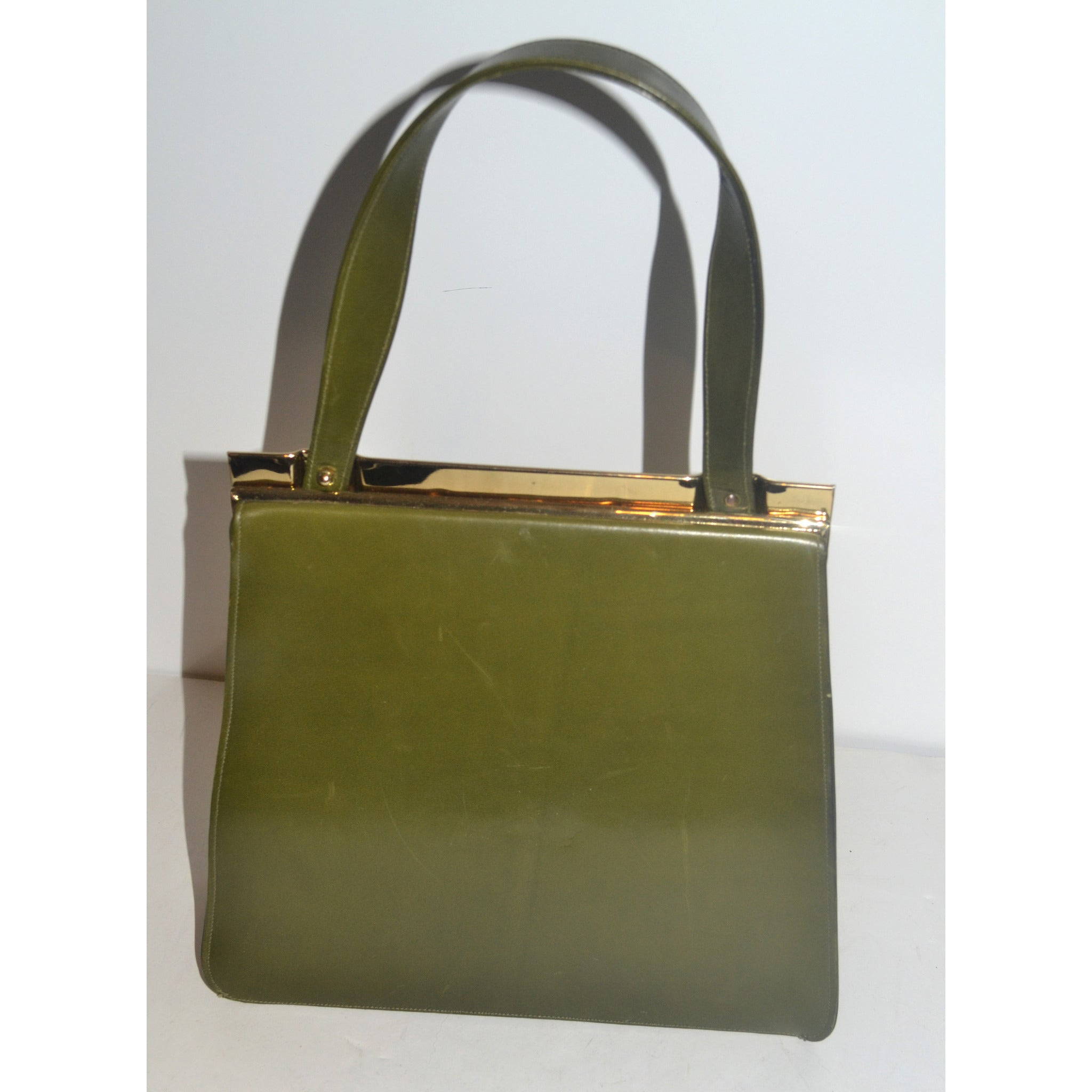 Vintage Green Leather Kelly Purse