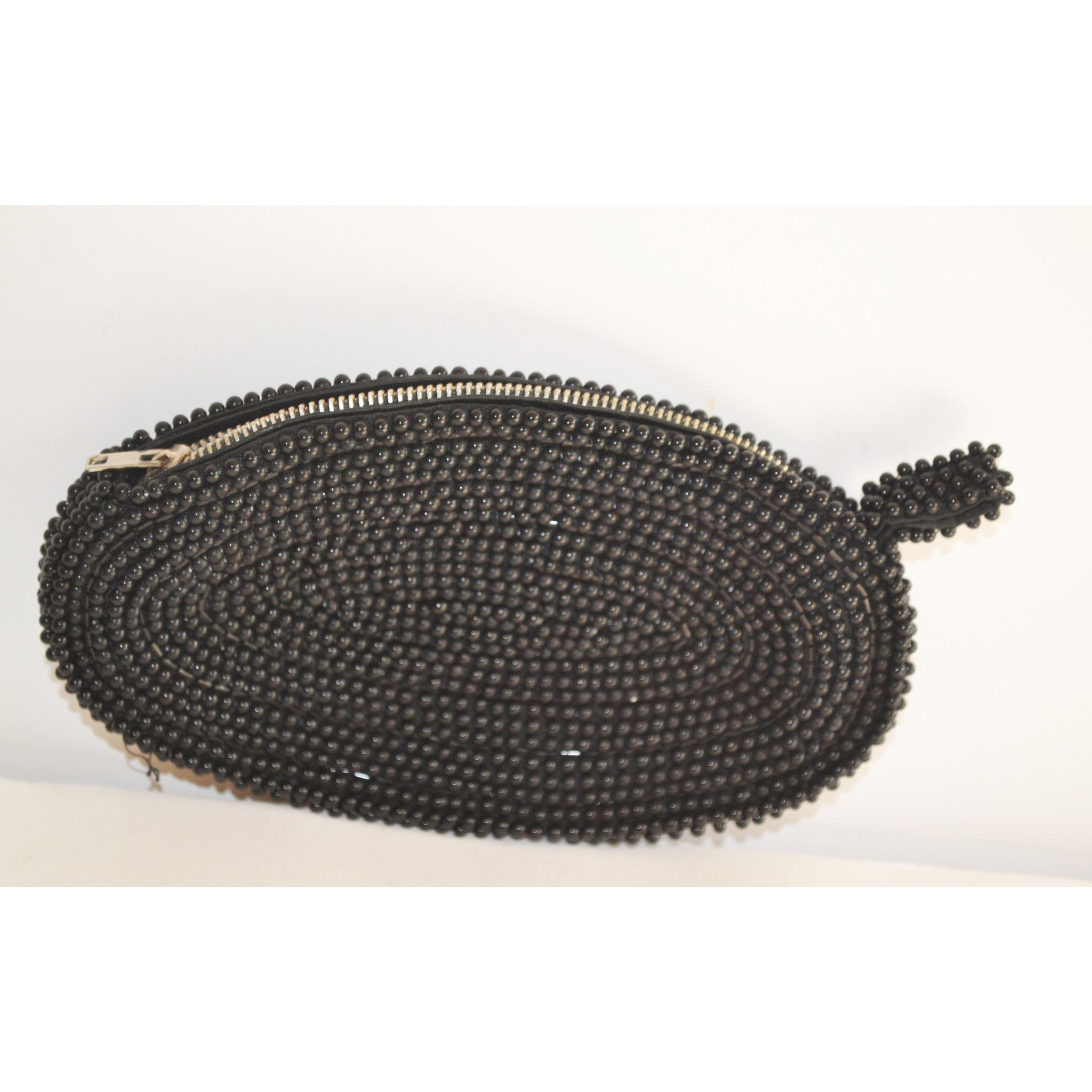 Vintage Black Beaded Coin Purse By David's Import
