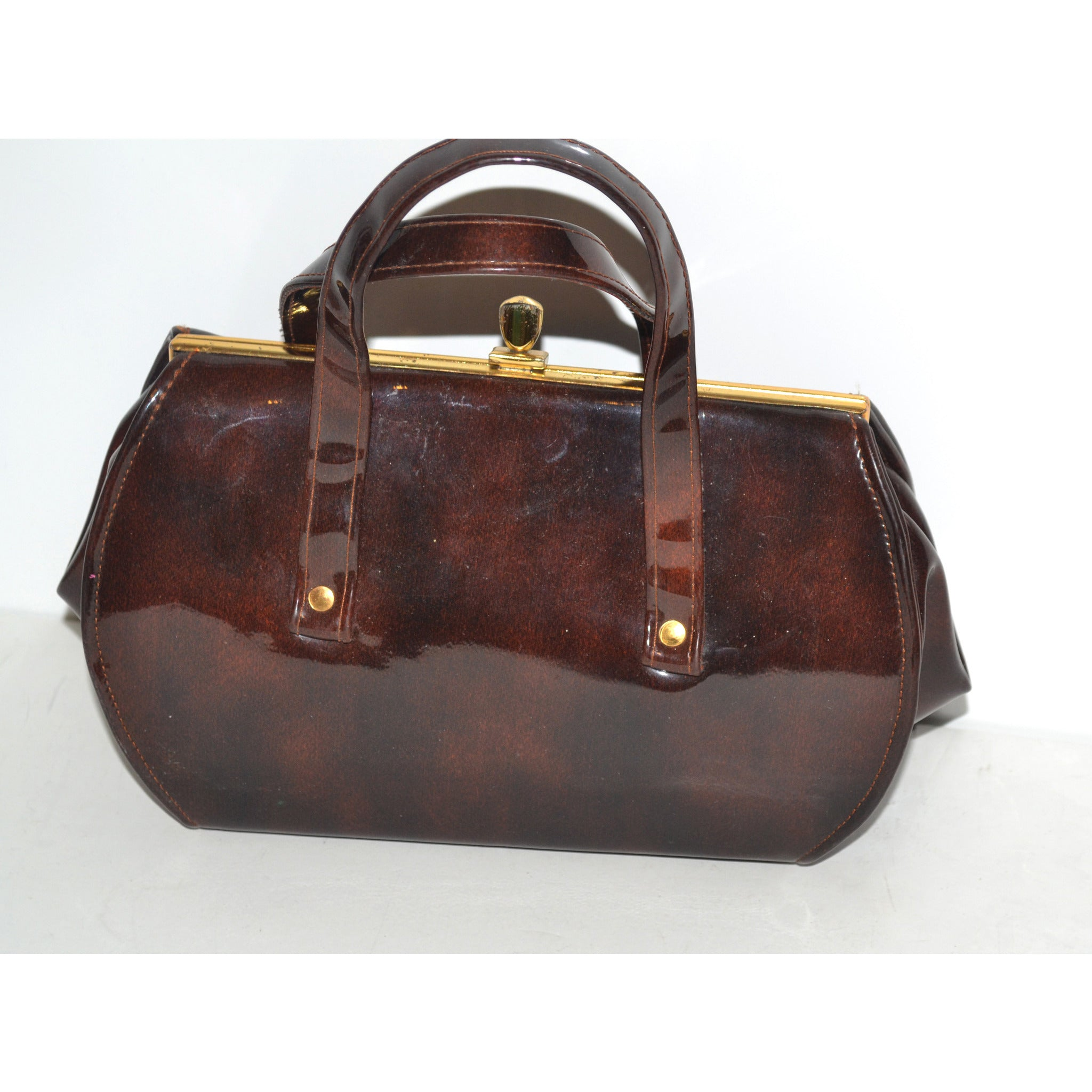 Vintage Brown High Gloss Baguette Purse