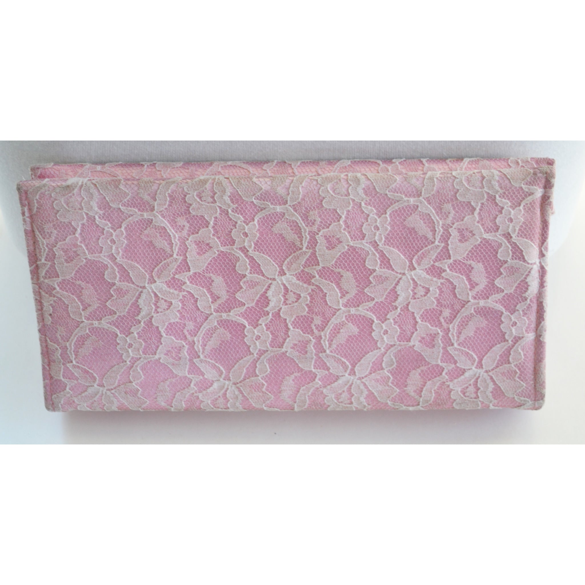 Vintage Pink & Satin Lace Clutch Purse
